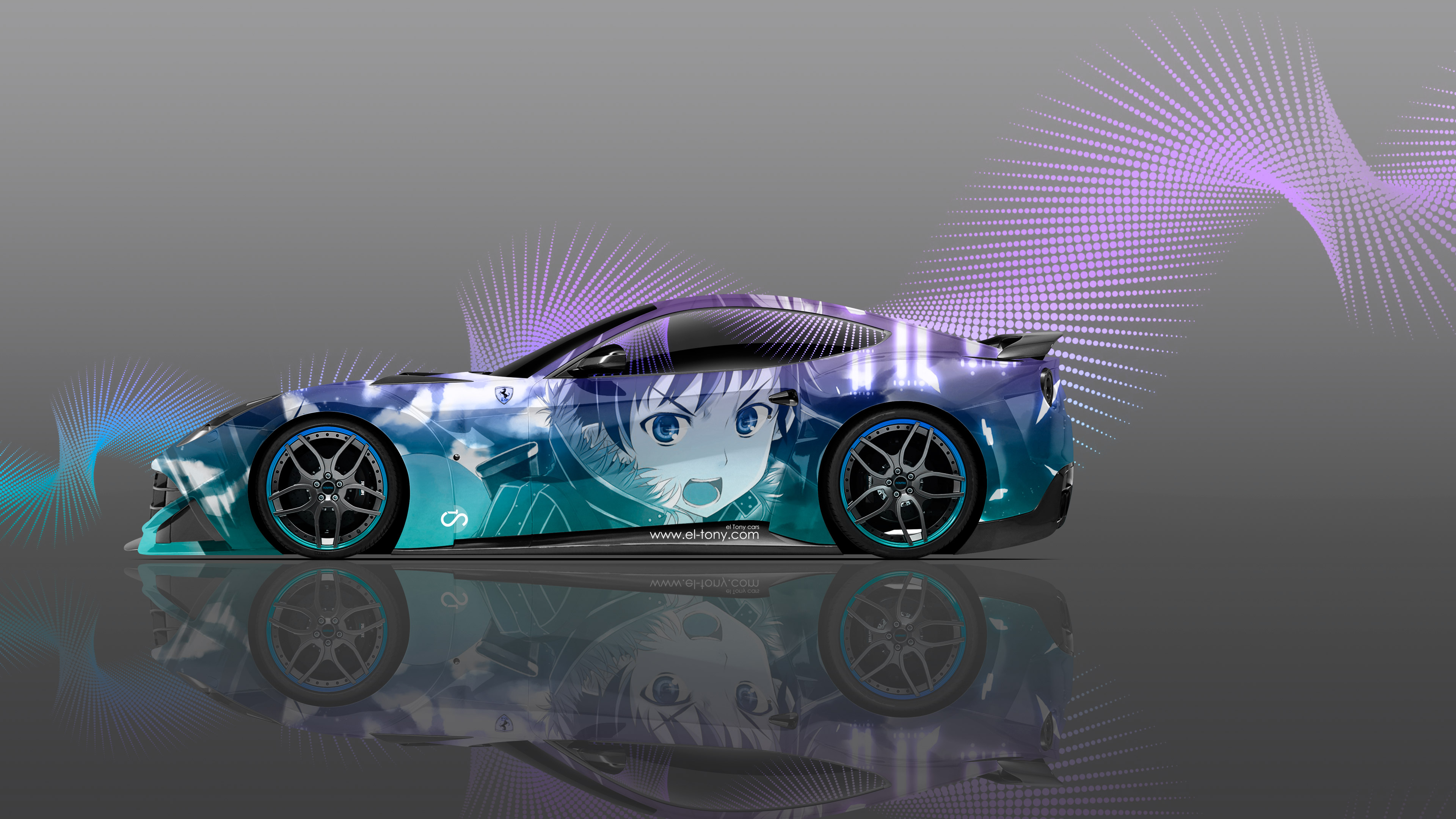 Ferrari-F12-Berlinetta-Side-Anime-Boy-Aerography-Abstract-Car-2015-Azure-Violet-Effects-4K-Wallpapers-design-by-Tony-Kokhan-www.el-tony.com-image