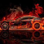 Ferrari F12 Berlinetta Side Super Fire Abstract Car 2015