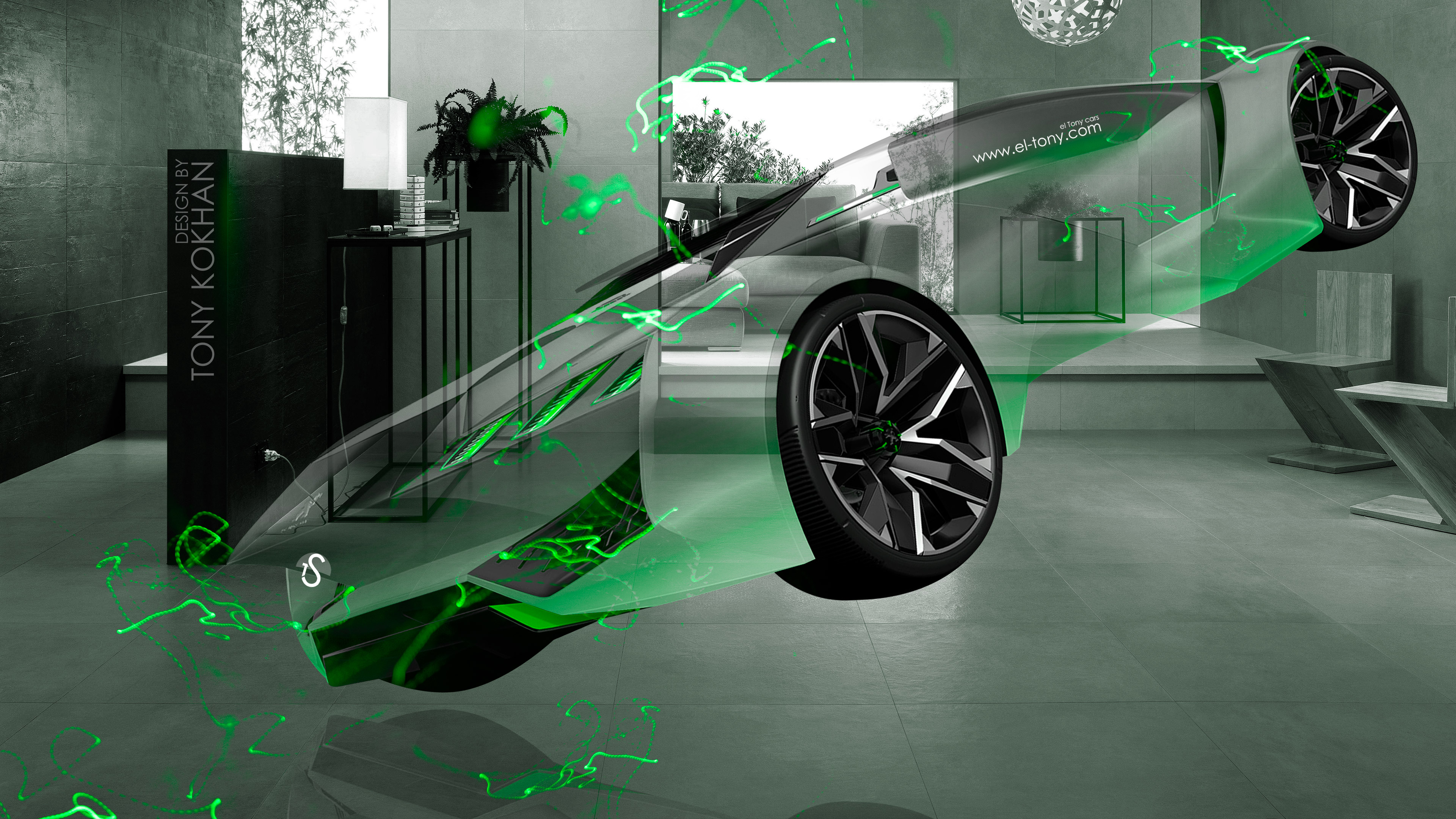 Peugeot-Vision-Gran-Turismo-3D-Fantasy-Crystal-Home-Fly-Energy-Car-2015-Green-Neon-Effects-4K-Wallpapers-design-by-Tony-Kokhan-www.el-tony.com-image
