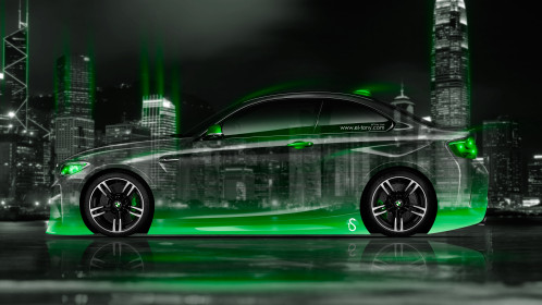 BMW-M2-Coupe-Side-Crystal-City-Night-Car-2016-Green-Neon-Colors-4K-Wallpapers-design-by-Tony-Kokhan-www.el-tony.com-image