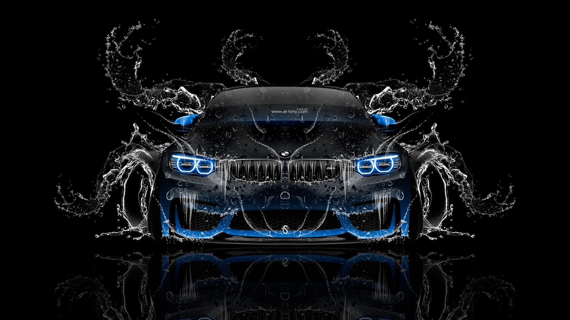 BMW M4 Tuning Front Super Splashes Water Car