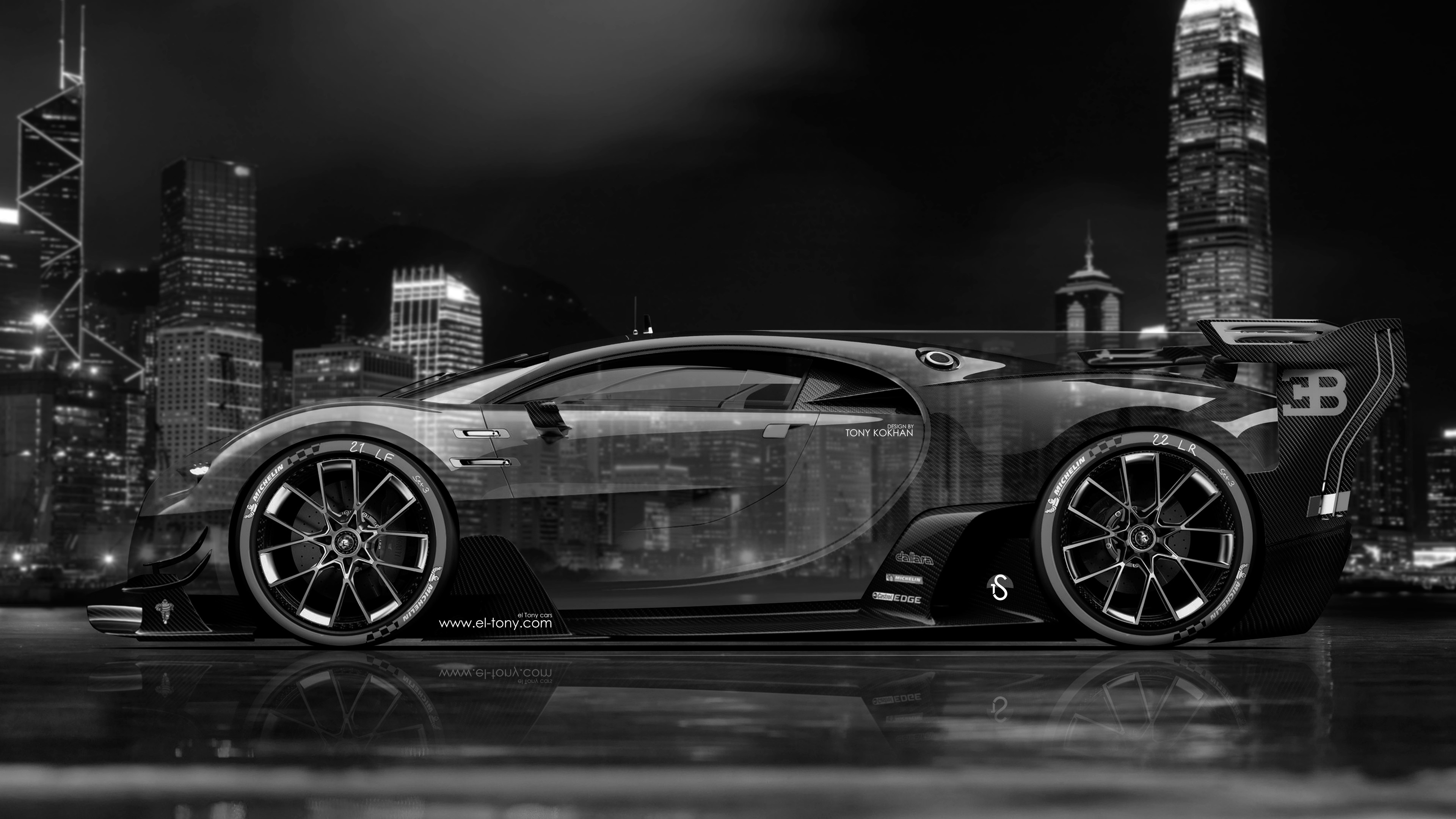 Bugatti Vision Gran Turismo Side Crystal City Night Car