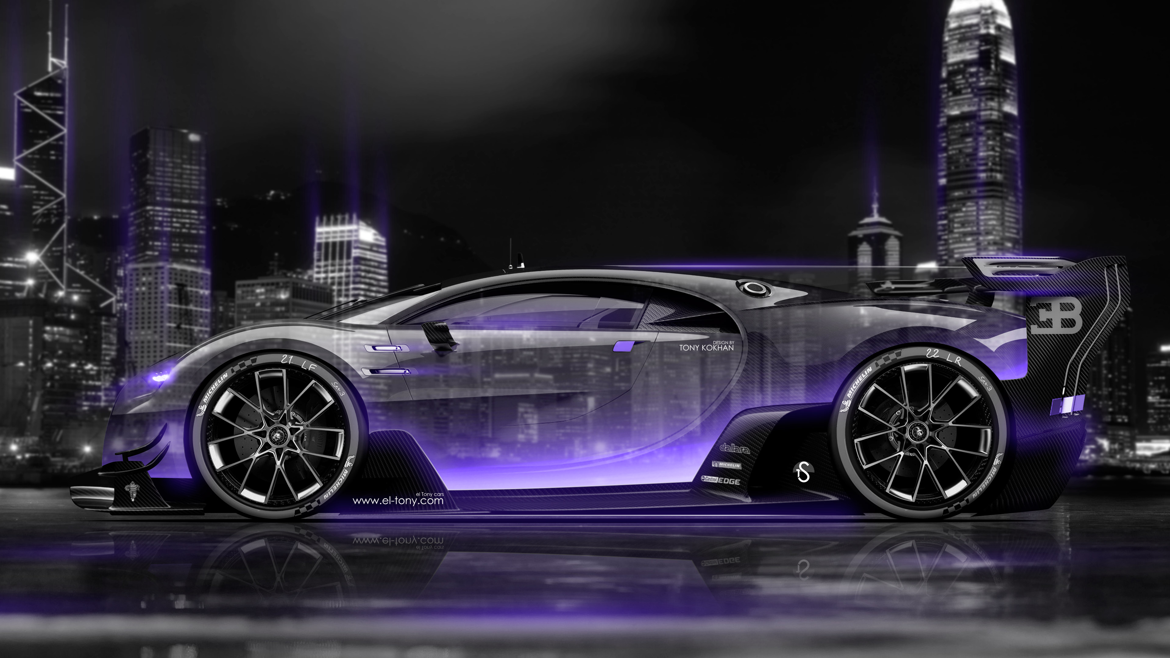 ... Bugatti Vision Gran Turismo Side Crystal City Night Car 2016 Wallpapers  4K