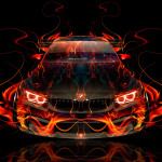 BMW M4 Tuning FrontUp Super Fire Abstract Car 2016