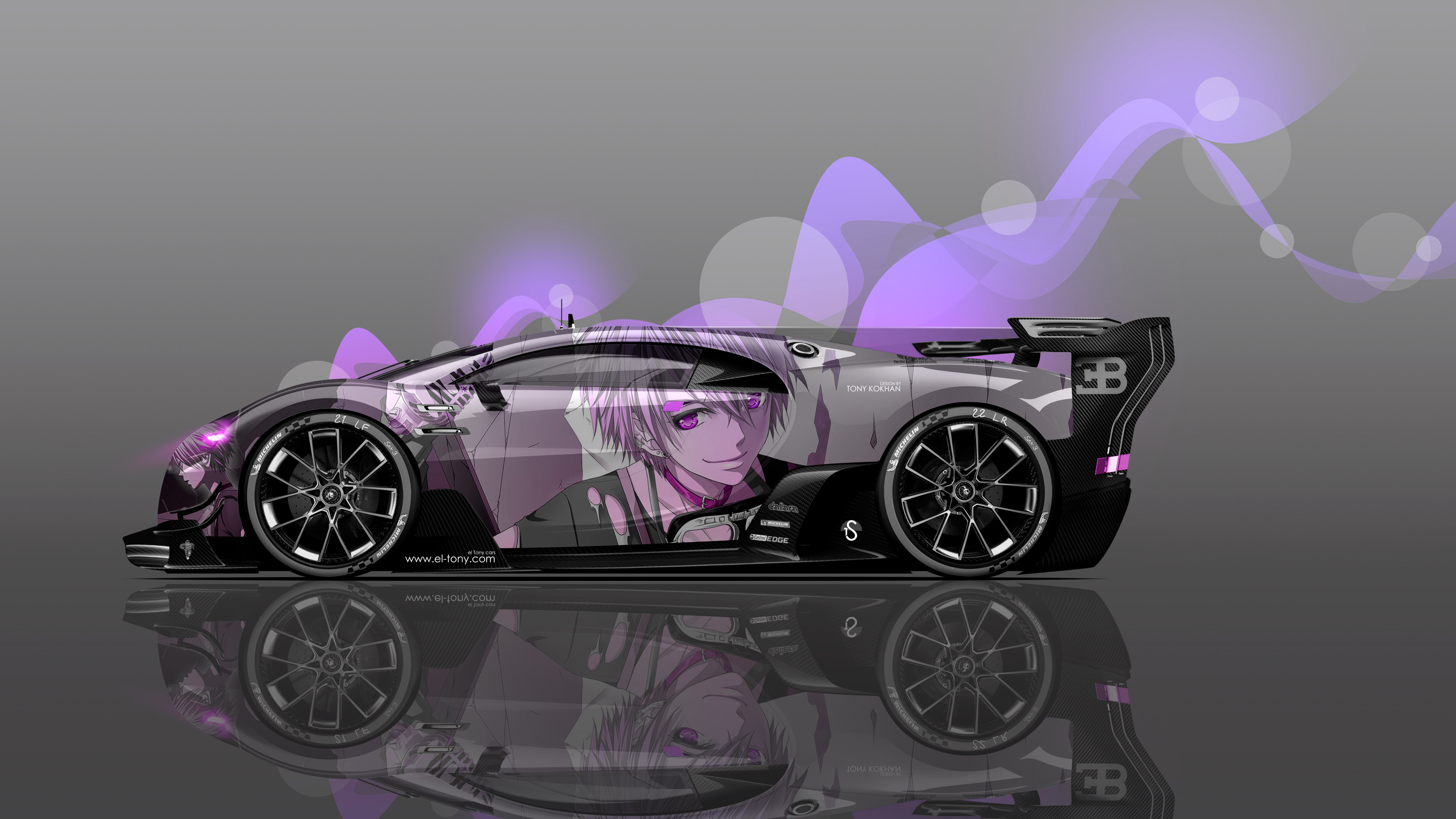 Bugatti Vision GT Side Anime Boy Aerography Car 2016 Wallpapers 4K