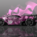 Bugatti Vision GT Side Anime Girl Aerography Car 2016 Wallpapers 4K