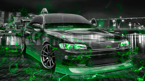 Toyota-Mark2-JZX90-JDM-Tuning-3D-Crystal-City-Night-Energy-Car-2016-Green-Neon-Effects-4K-Wallpapers-design-by-Tony-Kokhan-www.el-tony.com-image