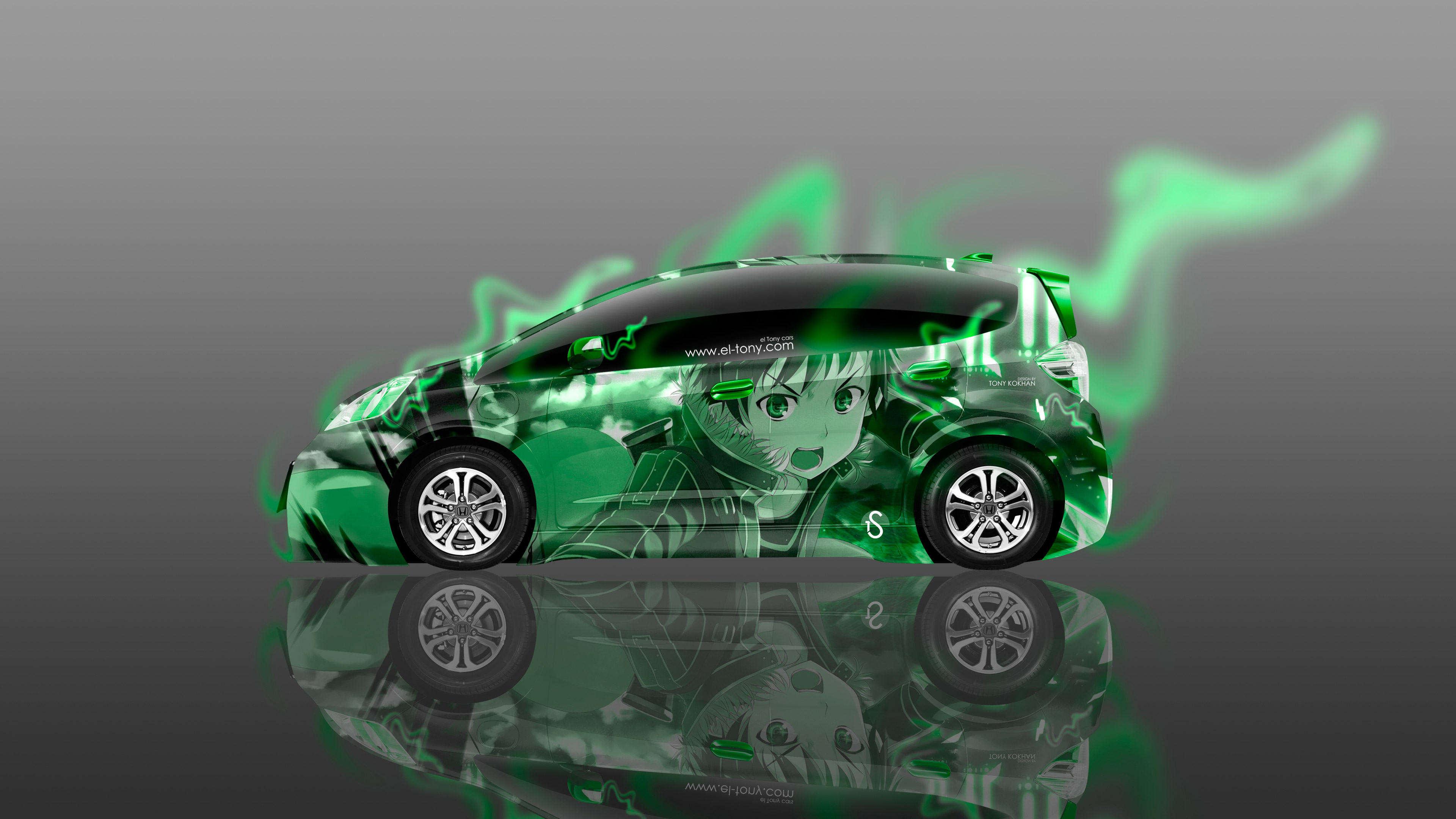 Honda-Fit-JDM-Tuning-Side-Anime-Boy-Aerography-Energy-Car-2016-Creative-Green-Neon-Effects-4K-Wallpapers-design-by-Tony-Kokhan-www.el-tony.com-image