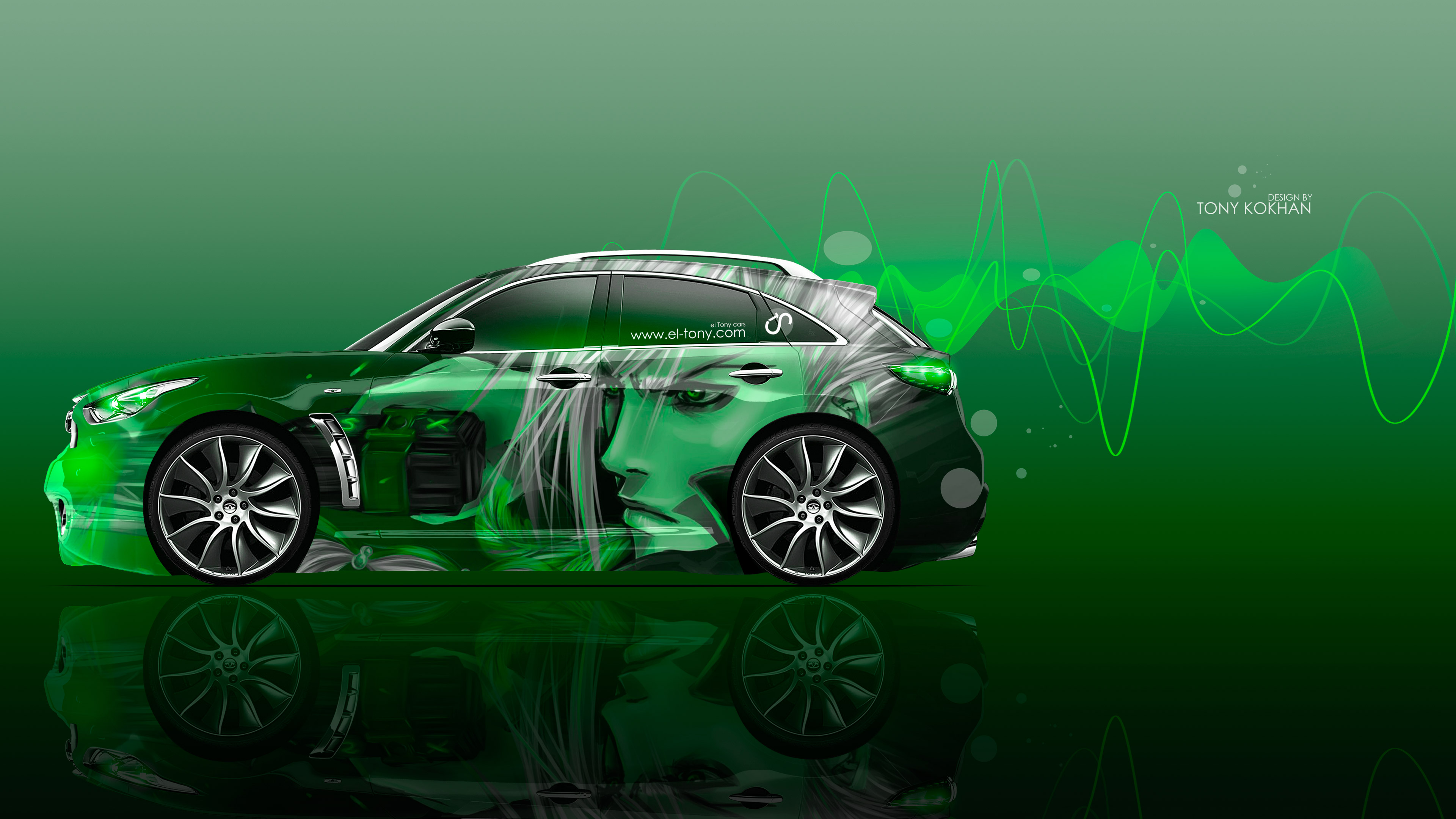 Delightful Infiniti FX Side Anime Boy Aerography Car 2016 Wallpapers 4K