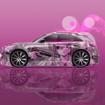 Infiniti FX Side Anime Girl Gun Aerography Car 2016 Wallpapers 4K