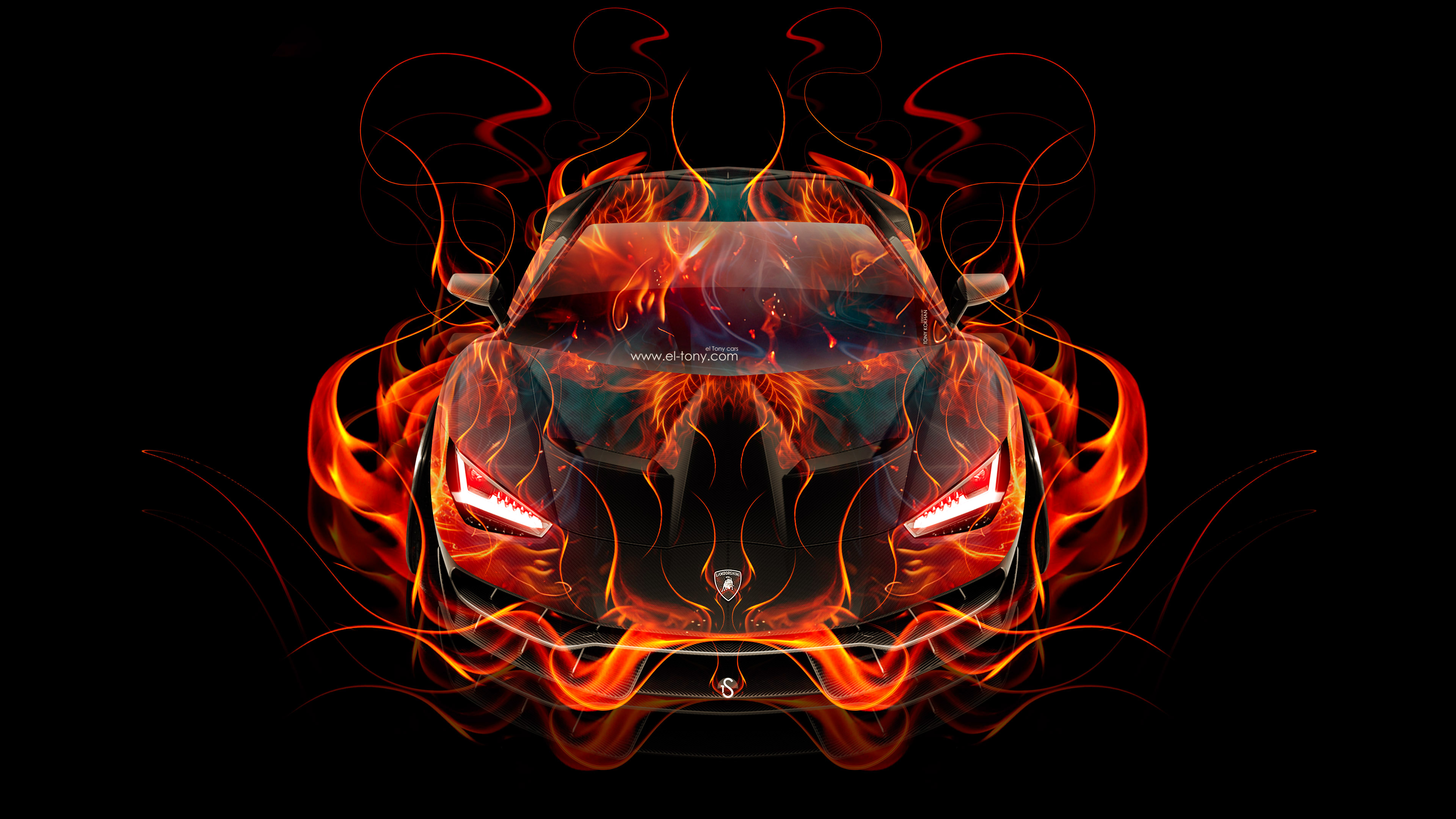 Exceptionnel Lamborghini Centenario FrontUp Super Fire Flame Abstract Car