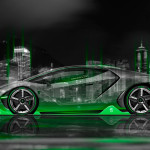 Lamborghini Centenario Side Crystal City Night Car 2016 Wallpapers 4K