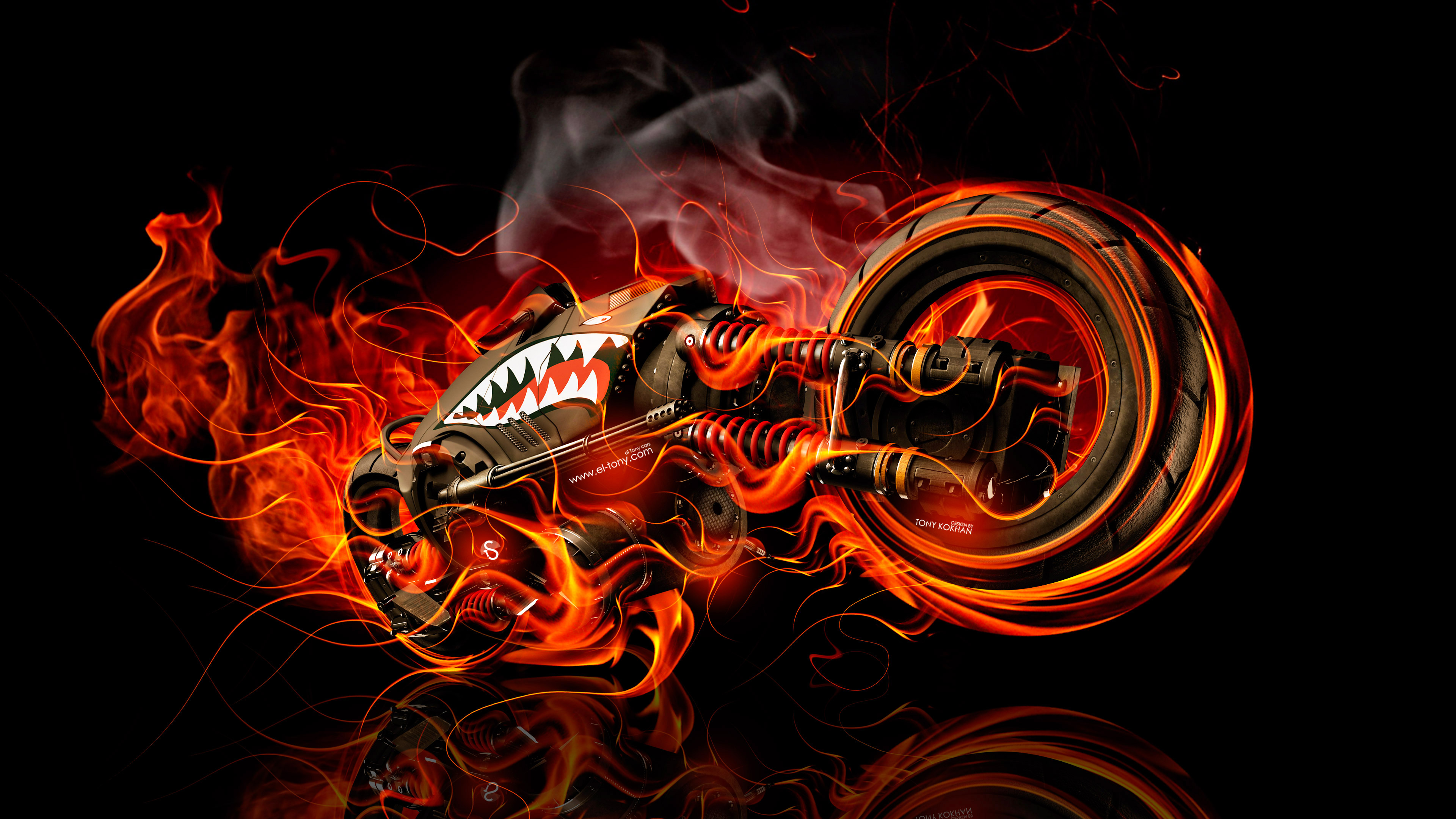 ... Moto Gun Super Fire Flame Abstract Bike 2016 Wallpapers 4K