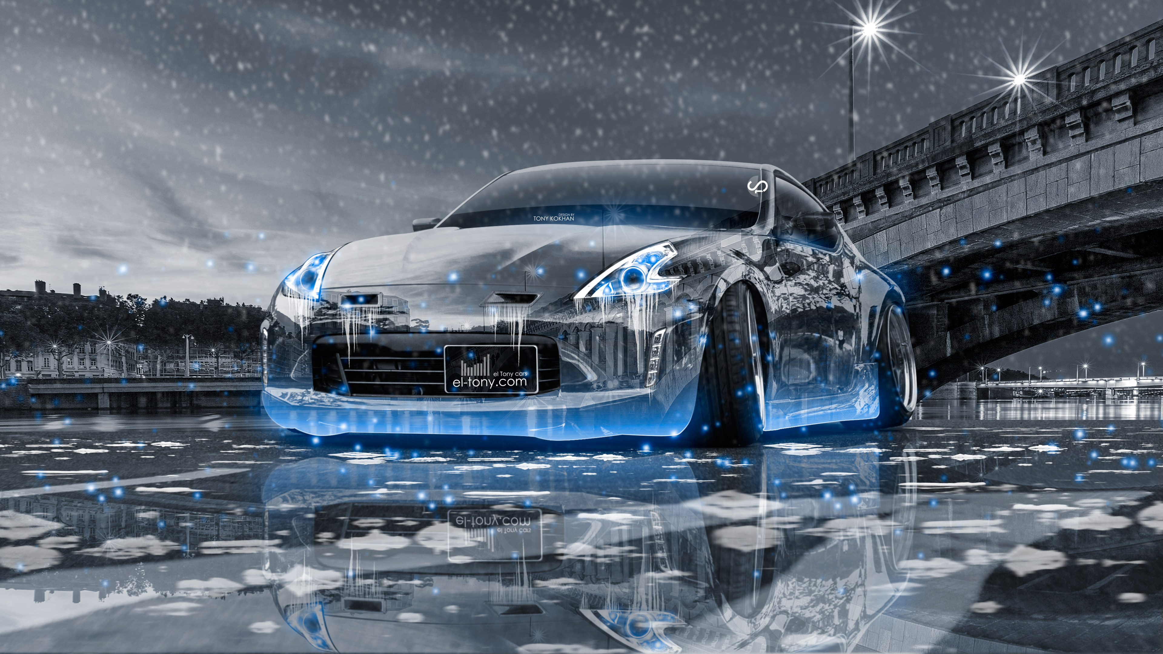 Merveilleux Nissan 370Z Tuning Crystal City Ice Snow Car 2016 Wallpapers 4K