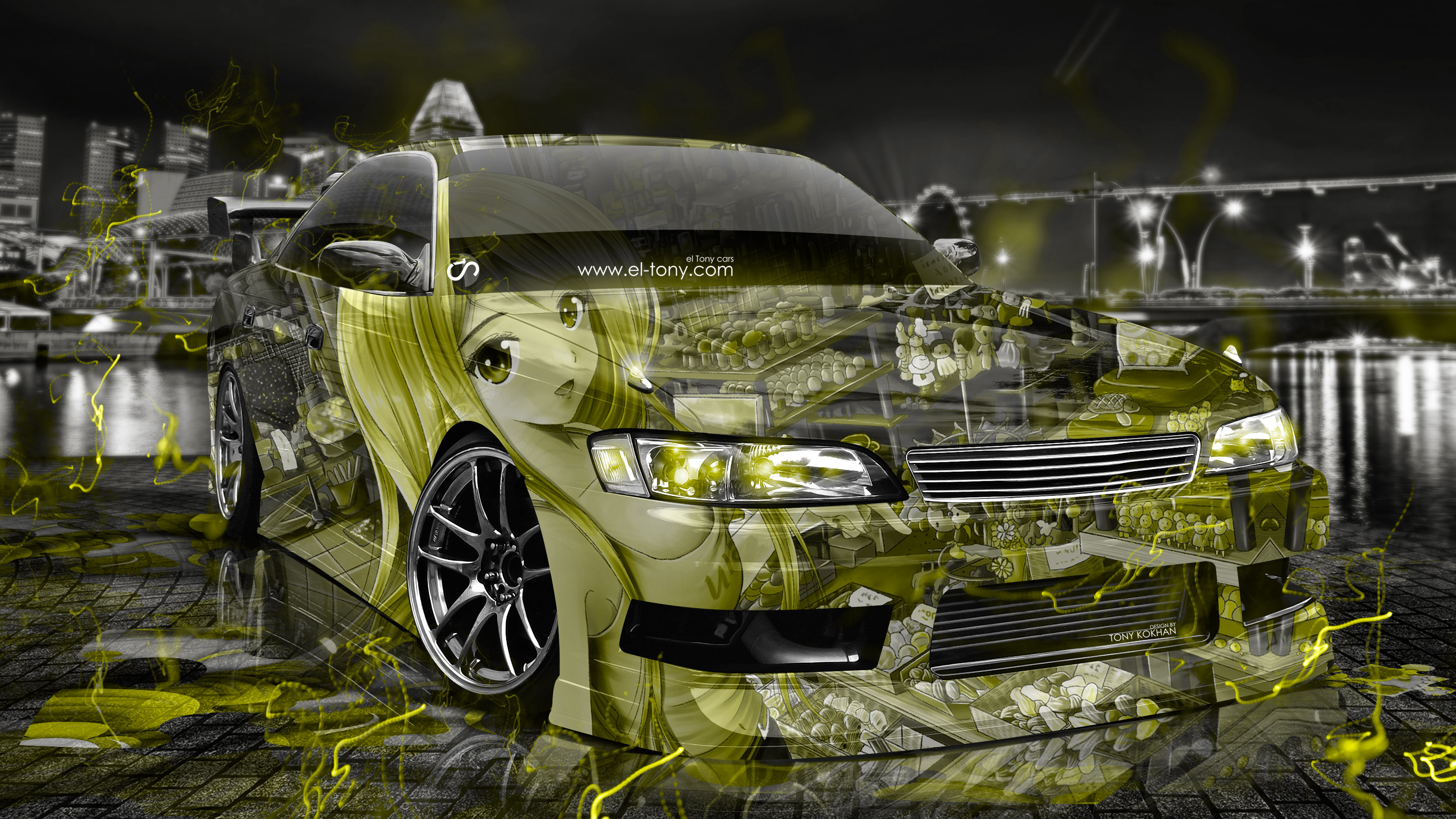 Beau ... Toyota Mark2 JZX90 JDM Tuning 3D Anime Girl  ...