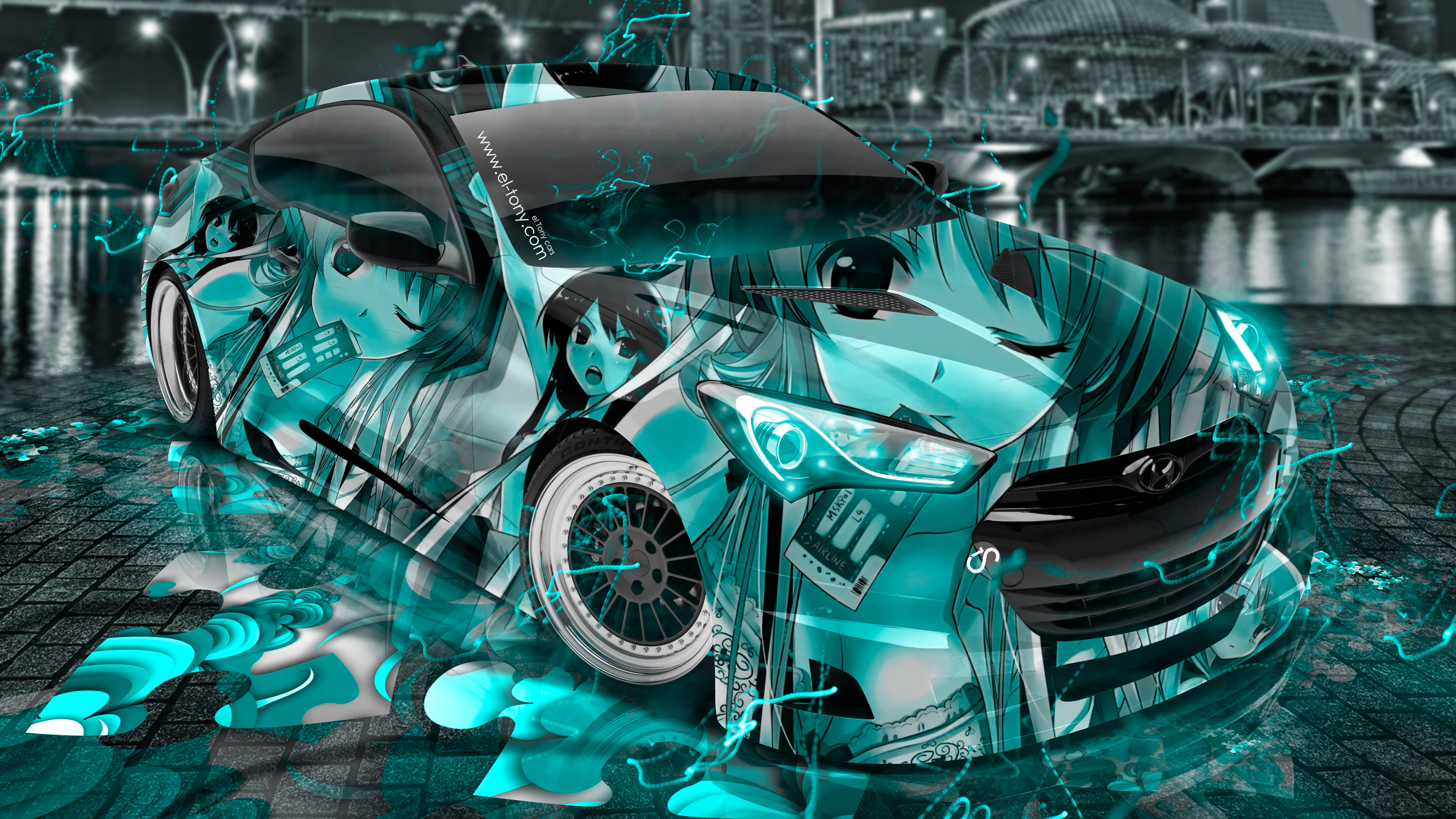 Hyundai Genesis Coupe Anime Girl Aerography City Energy