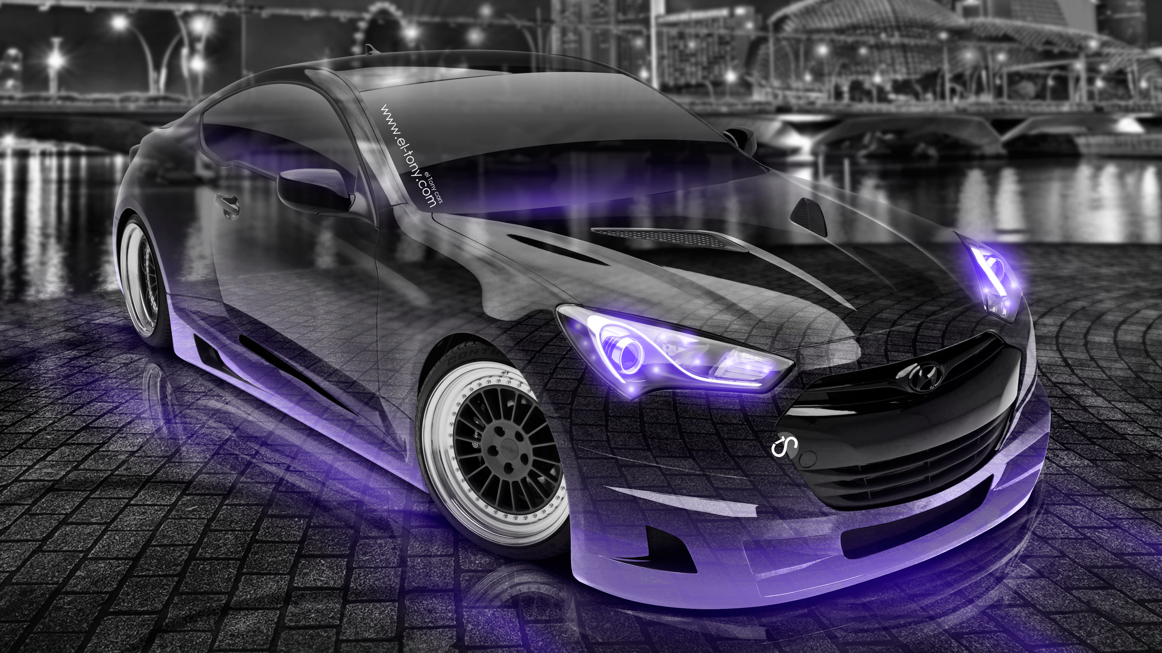 Hyundai-Genesis-Coupe-Tuning-3D-Crystal-City-Night-Car-2016-Creative-Art-Violet-Neon-Colors-4K-Wallpapers-design-by-Tony-Kokhan-www.el-tony.com-image