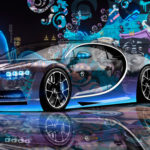 Bugatti Chiron Super Crystal City Graffiti Girl Street Car 2016 Wallpapers 4K