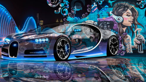 Bugatti-Chiron-3D-Super-Crystal-City-Graffiti-Girl-Dogs-Street-Art-Car-2016-Blue-Violet-Black-Colors-4K-Wallpapers-design-by-Tony-Kokhan-www.el-tony.com-image