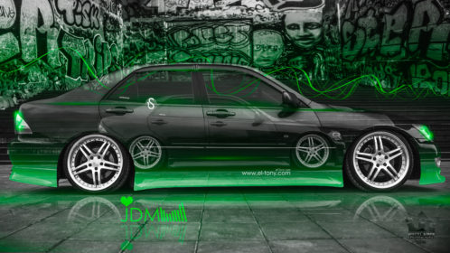 Toyota-Altezza-Two-Cars-JDM-2X-Tuning-Side-Crystal-Graffiti-Car-2016-Green-Neon-Colors-4K-Wallpapers-design-by-Tony-Kokhan-www.el-tony.com-image