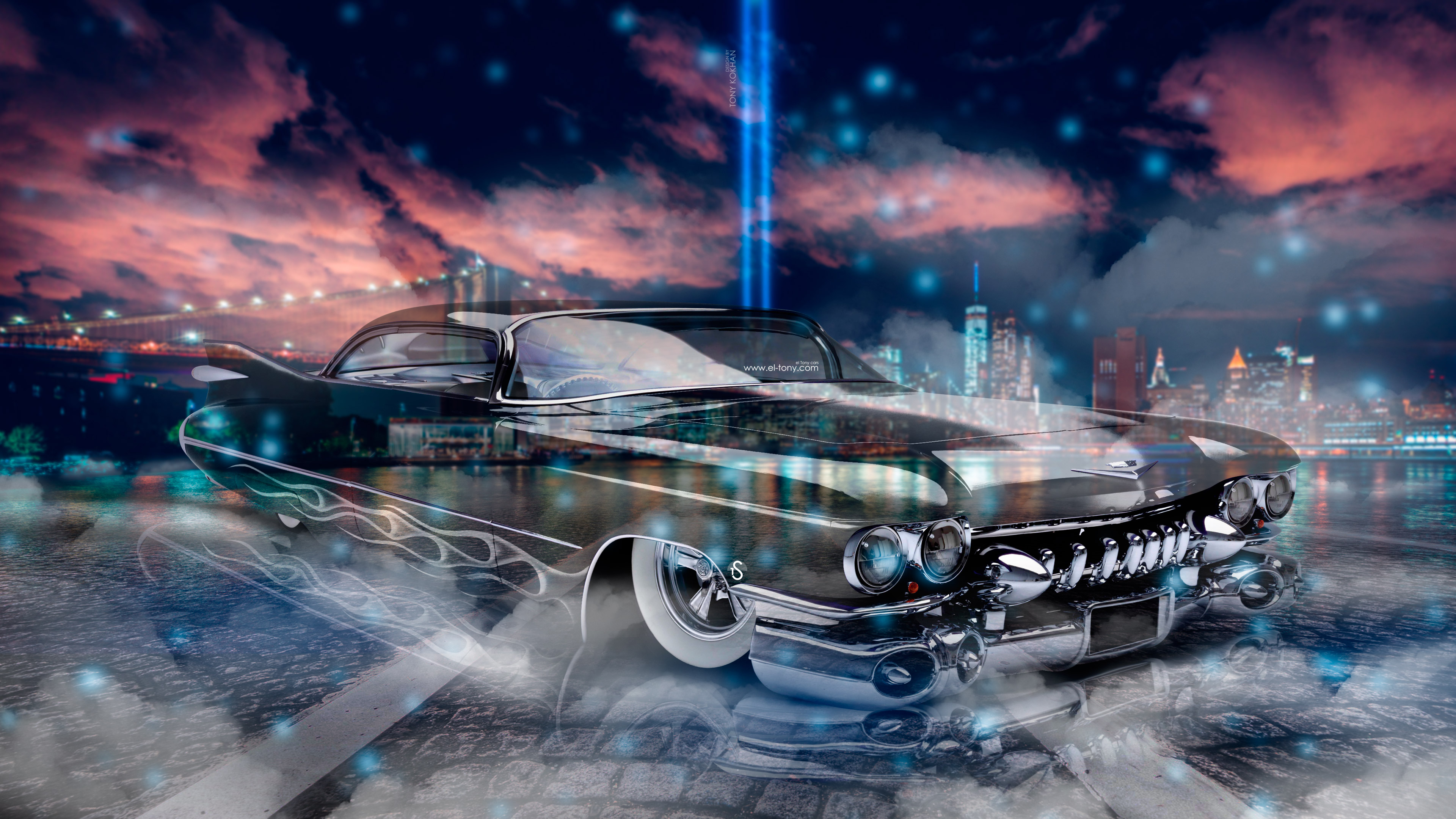 Cadillac Eldorado Coupe Retro Crystal New York City Smoke Fog Car 2017