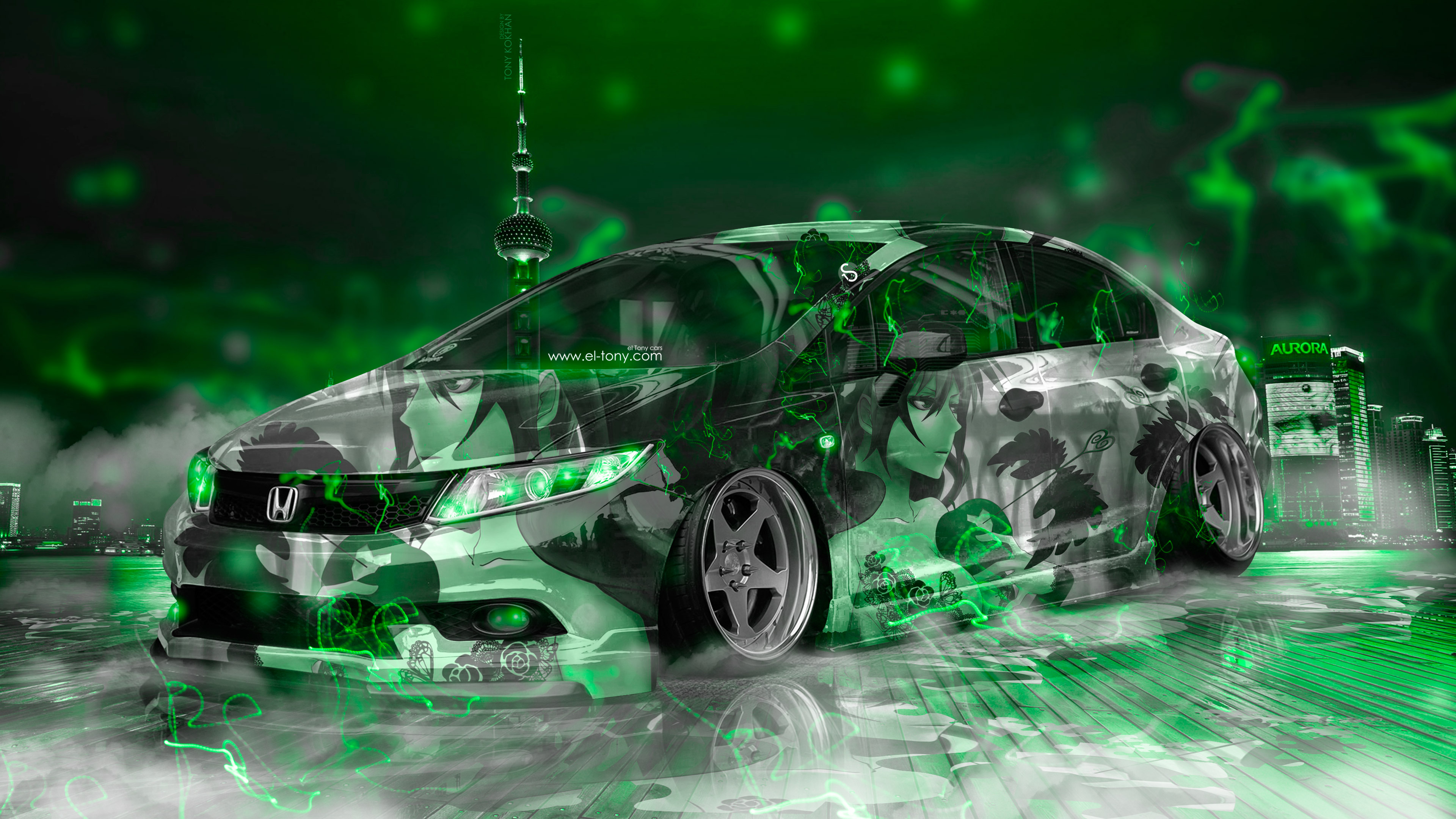 honda civic jdm tuning super anime girl energy night city fog smoke car  el tony