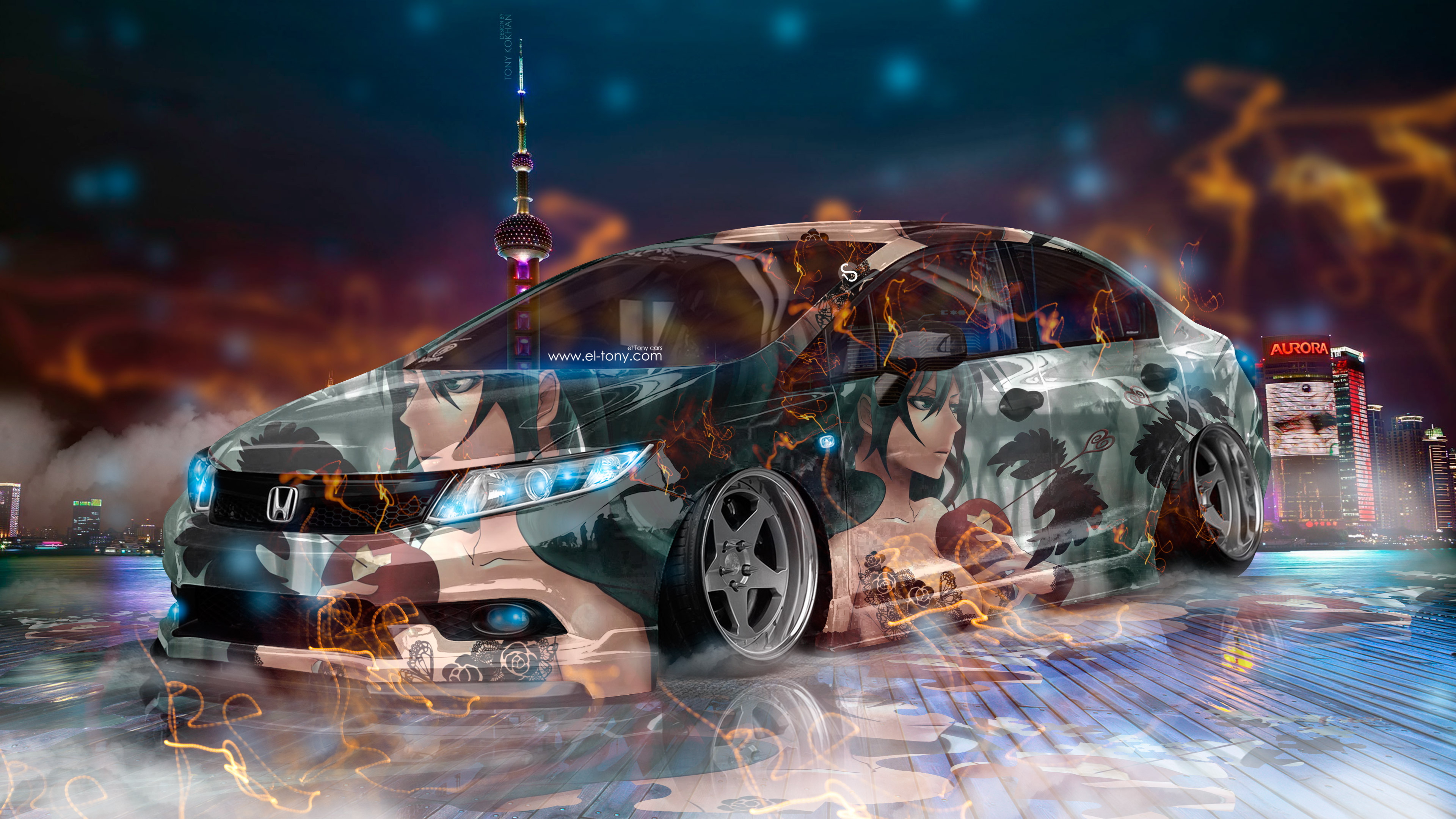 Honda Civic JDM Tuning Super Anime Girl Energy Night City Fog Smoke Car 2017