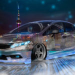 Honda Civic JDM Tuning Crystal City Night Neon Fog Smoke Car 2017