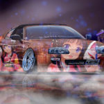Toyota Supra JDM Tuning N-Style Custom Anime Mask Girl Aerography Fog Car 2017