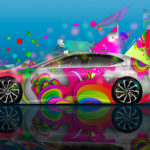 Lexus LF-FC Side Super Abstract Aerography Art Car 2017