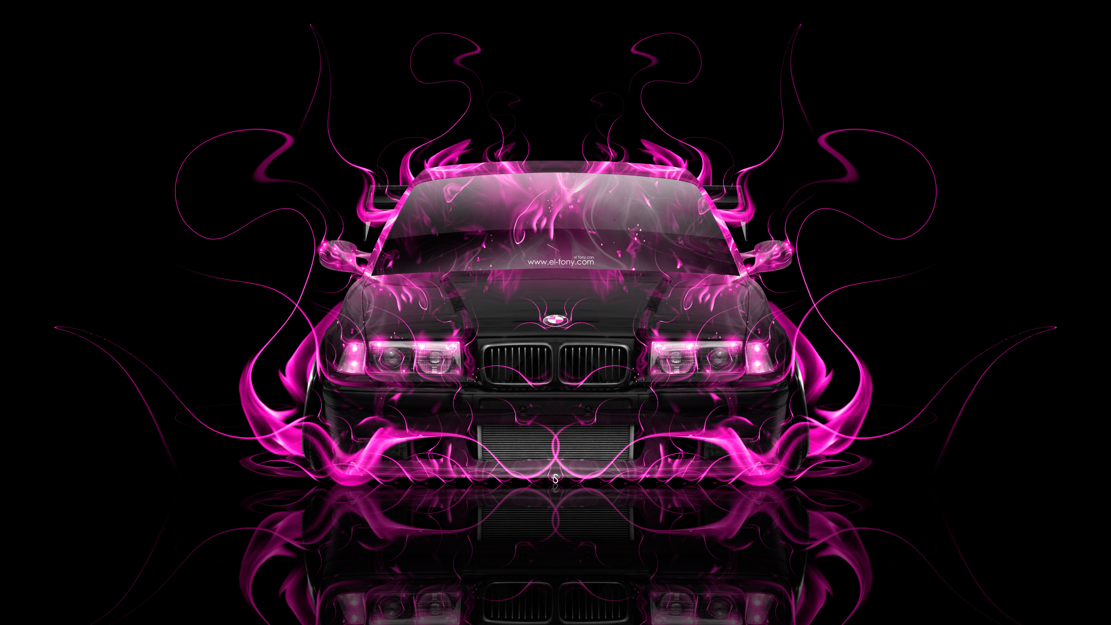 BMW M3 E36 Coupe Tuning Front Super Fire Flame Abstract ...