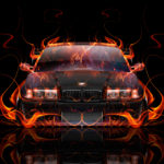 BMW M3 E36 Coupe Tuning Front Super Fire Flame Abstract Car 2017