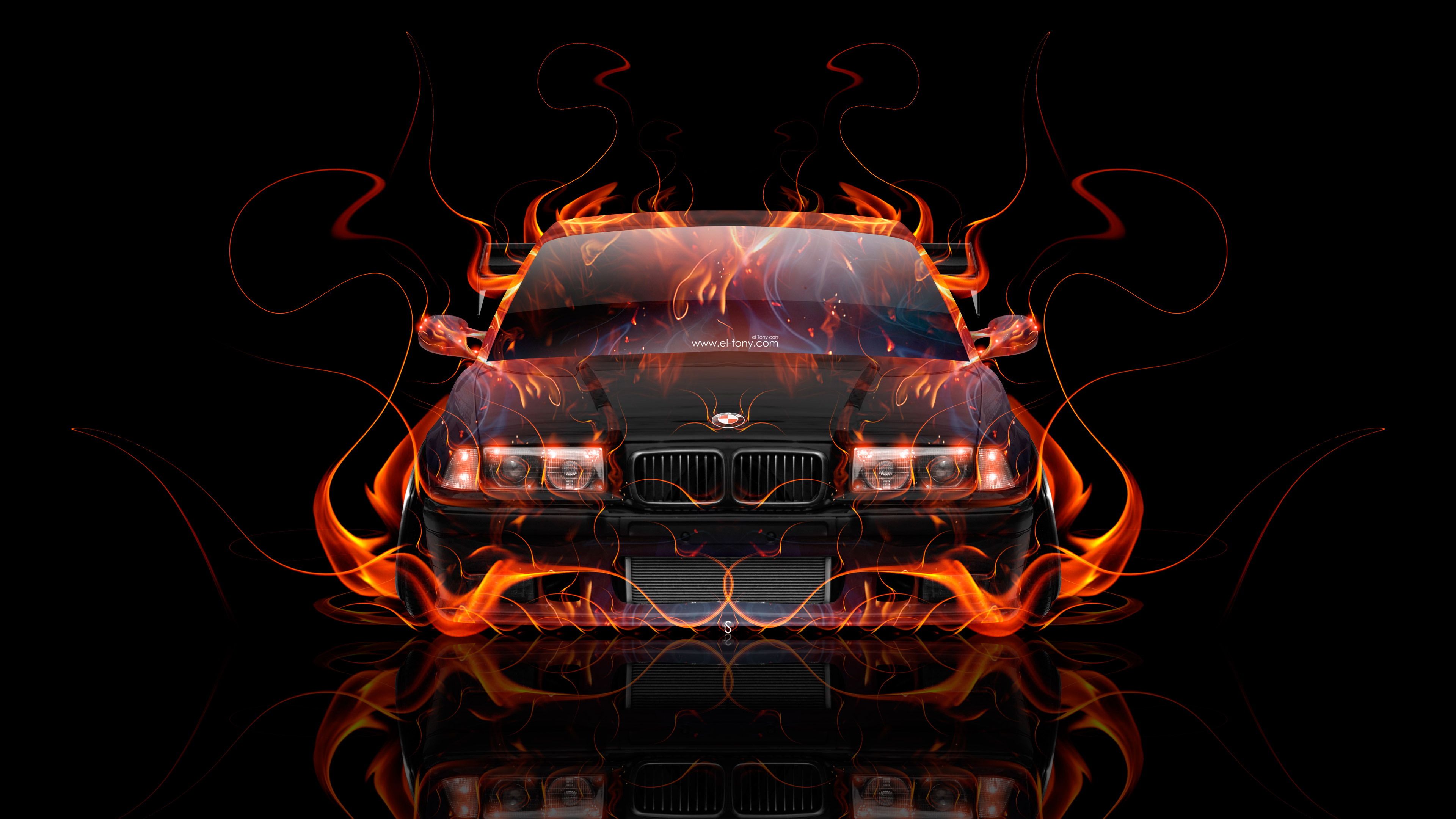 BMW-M3-E36-Coupe-Tuning-Front-Super-Fire-Flame-Abstract-Car-2017-Red-Yellow-Orange-Black-Colors-4K-Wallpapers-el-Tony-Cars-design-by-Tony-Kokhan-www.i-v.tv-image
