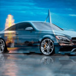 Mercedes-Benz C63S AMG Сoupe Crystal City Rotterdam Netherlands Night Art Car 2017