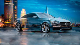 Mercedes-Benz-C63S-AMG-Сoupe-Crystal-City-Rotterdam-Netherlands-Water-Smoke-Fog-Night-Art-Car-2017-Multicolors-4K-Wallpapers-design-by-Tony-Kokhan-www.el-tony.com-image