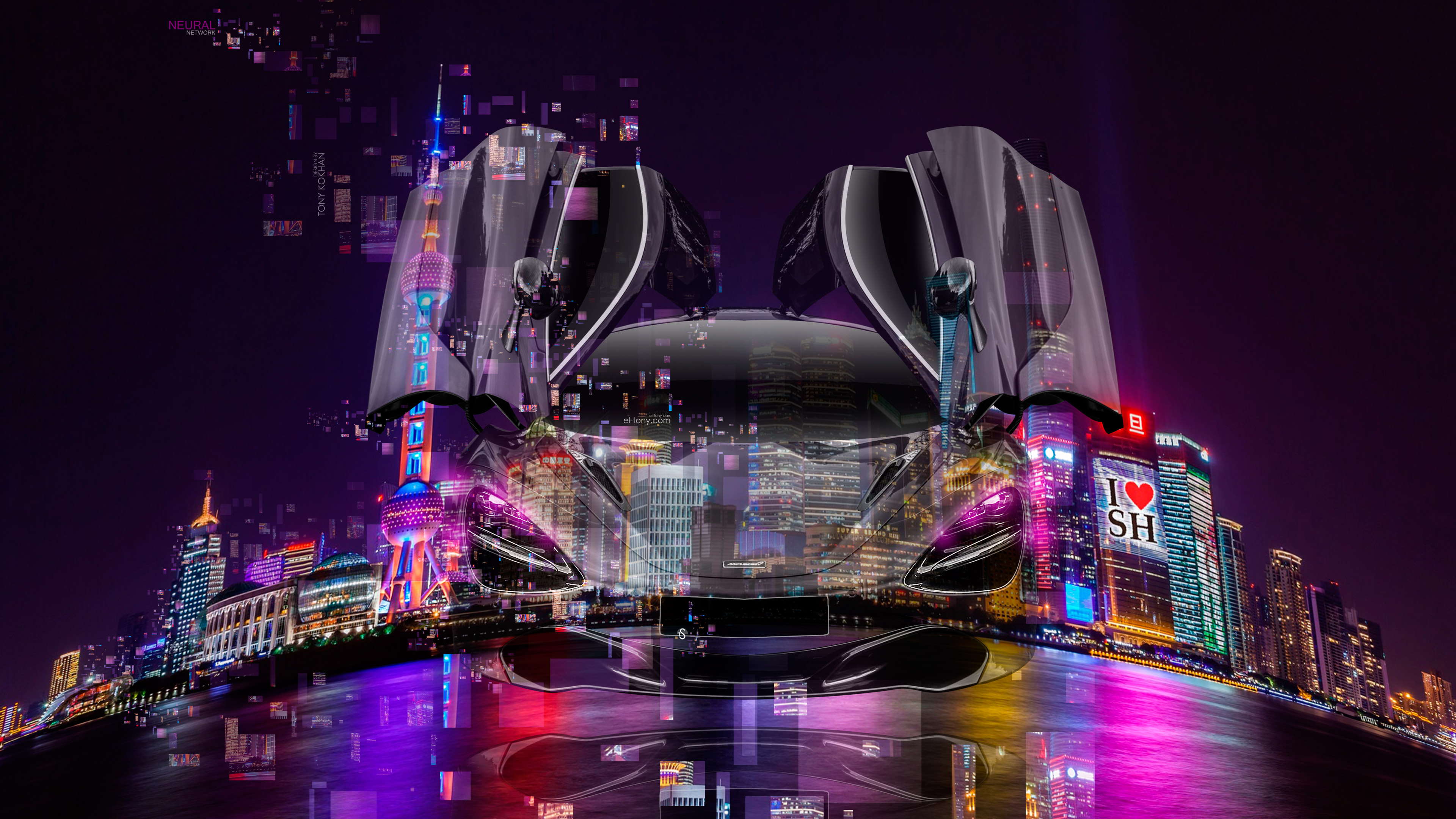 McLaren-720S-FrontUp-Open-Doors-Neural-Network-Super-Crystal-Night-City-Shanghai-China-Fly-Art-Car-2018-Multicolors-4K-Wallpapers-design-by-Tony-Kokhan-www.el-tony.com-image