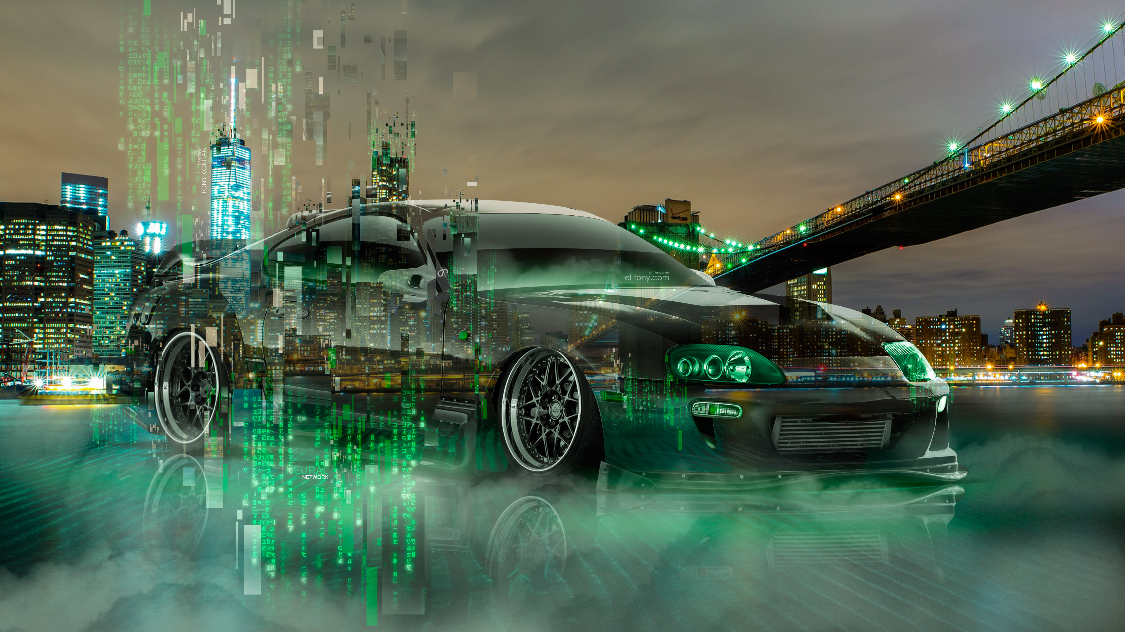 Elegant ... Toyota Supra JDM Tuning New York City Neural Network Matrix Night Art  Car 2018