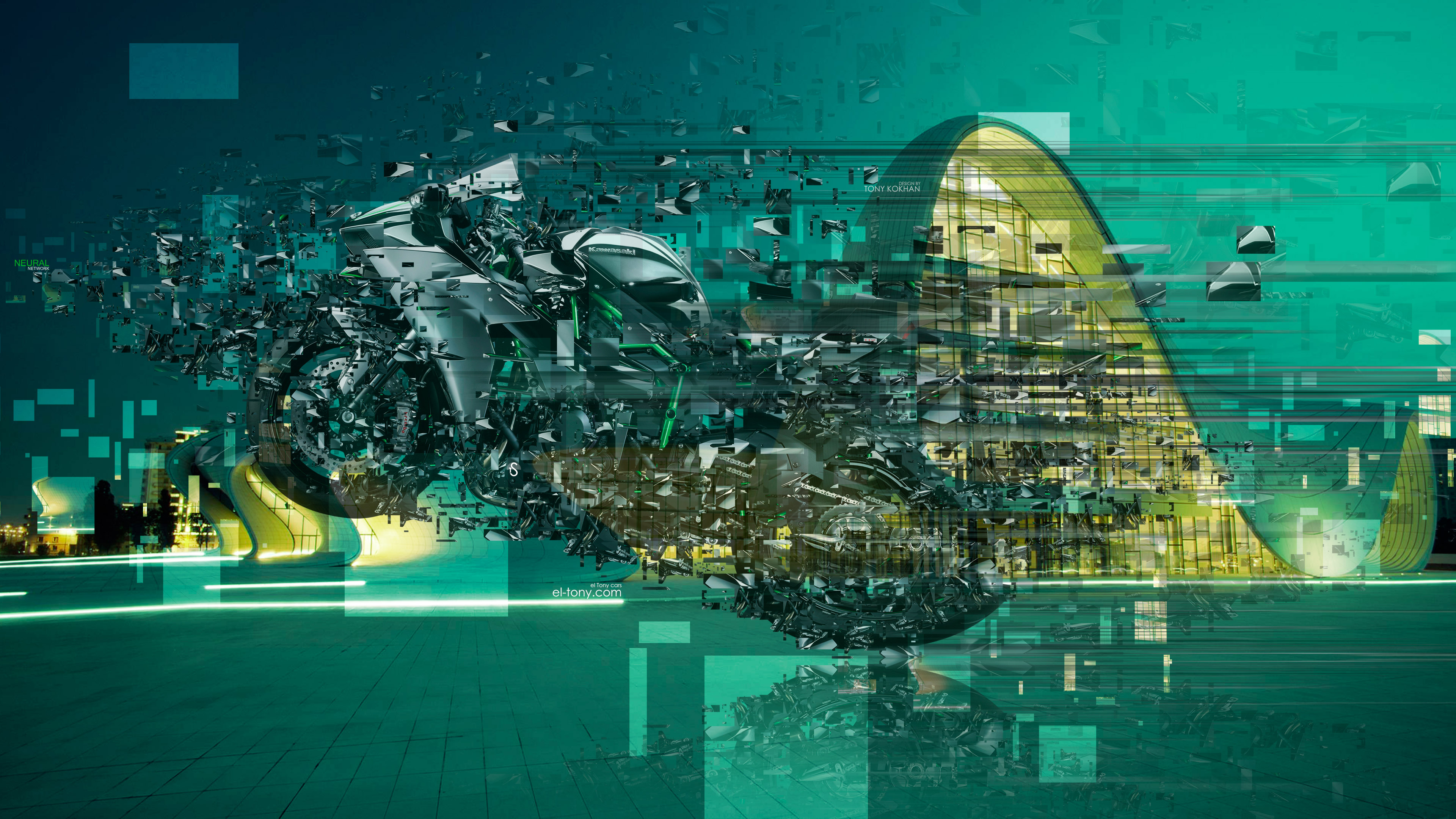 Moto-Kawasaki-Ninja-H2-Side-Super-Speed-Neural-Network-Crystal-Azerbaijan-Baku-City-Art-Bike-2018-Multicolors-4K-Wallpapers-TonyMoto-design-by-Tony-Kokhan-www.el-tony.com-image