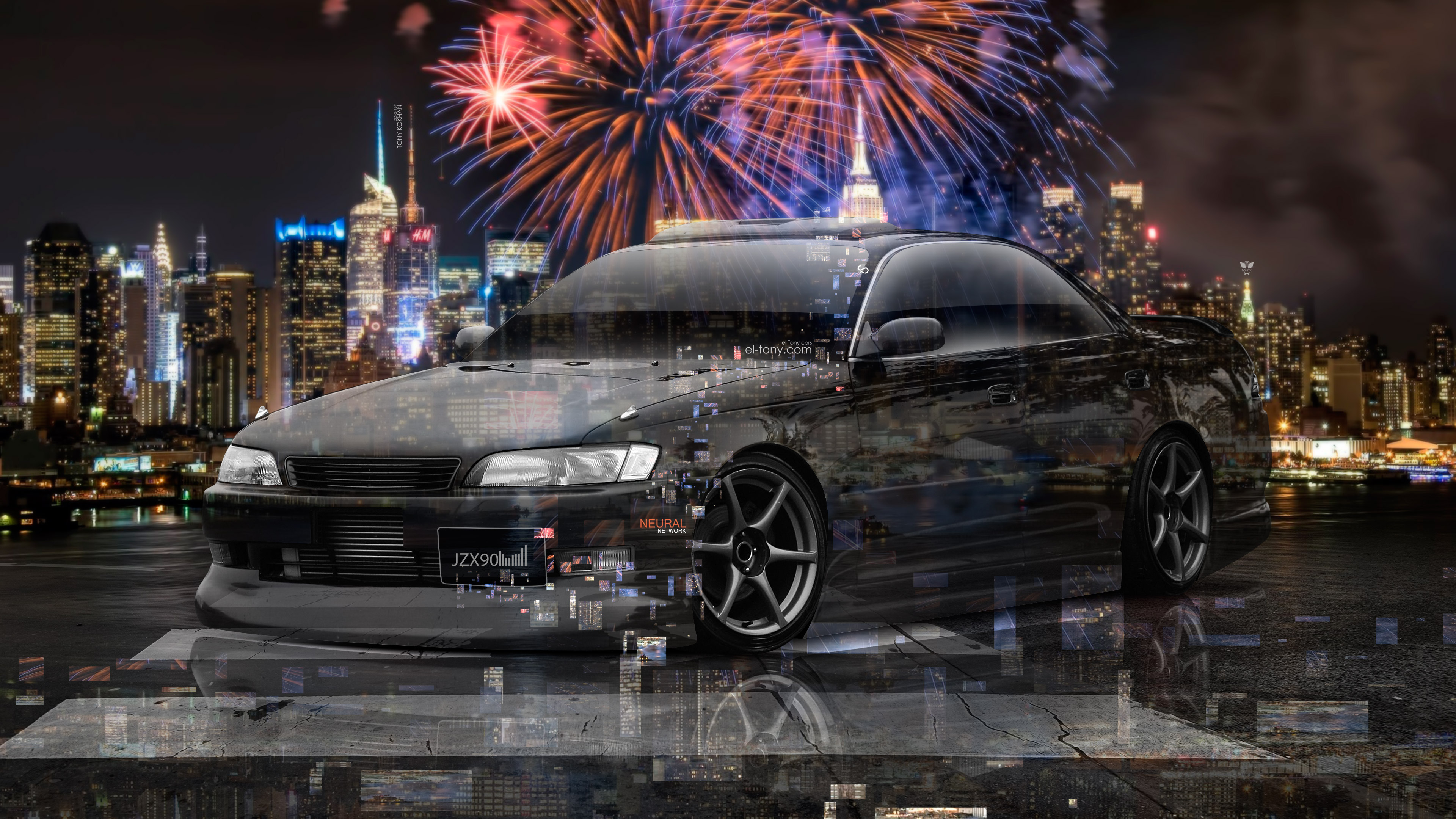 Toyota-Mark2-JZX90-JDM-Tuning-3D-Super-Neural-Network-Crystal-City-Night-Firework-Art-Car-2018-Multicolors-4K-Wallpapers-design-by-Tony-Kokhan-www.el-tony.com-image