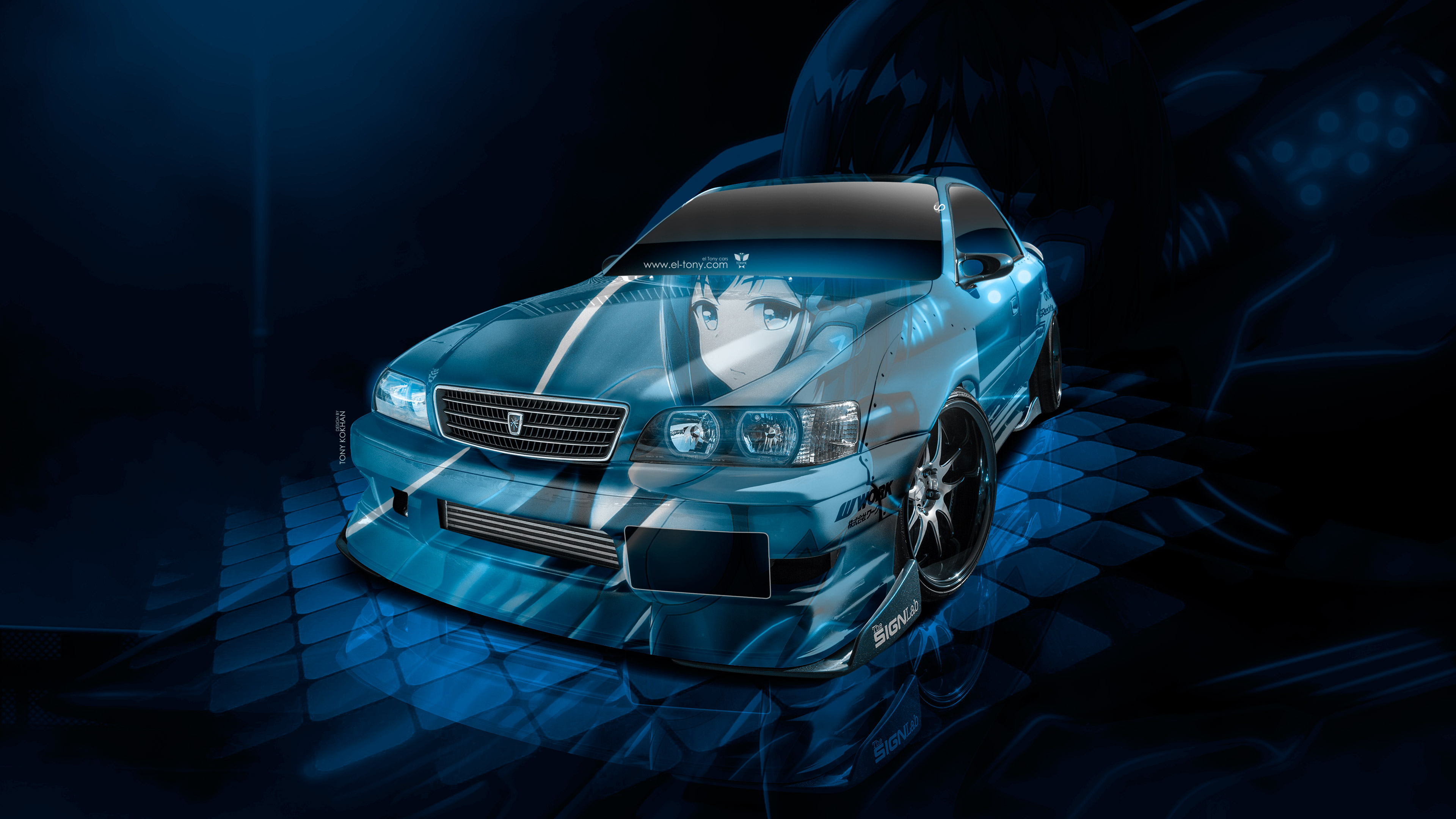 Toyota-Chaser-JZX100-JDM-Tuning-3D-Super-Anime-Girl-Aerography-Vinyl-Art-Car-2018-Blue-Colors-4K-Wallpapers-design-by-Tony-Kokhan-www.el-tony.com-image