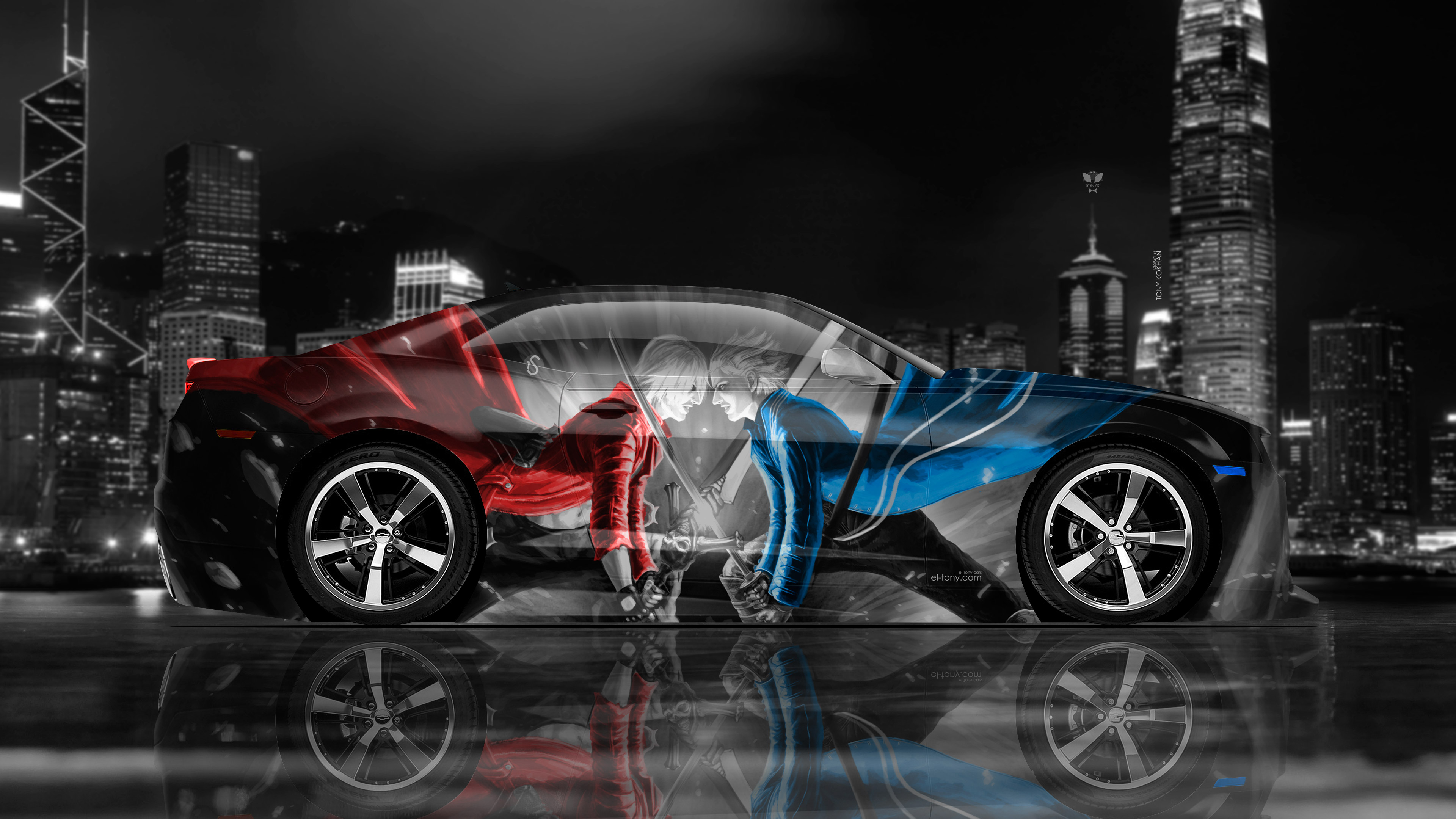 Chevrolet-Camaro-Muscle-Side-Super-Devil-My-Cry-Game-Aerography-Night-City-Art-Car-2018-Red-Blue-White-Black-Colors-4K-Wallpapers-design-by-Tony-Kokhan-www.el-tony.com-image