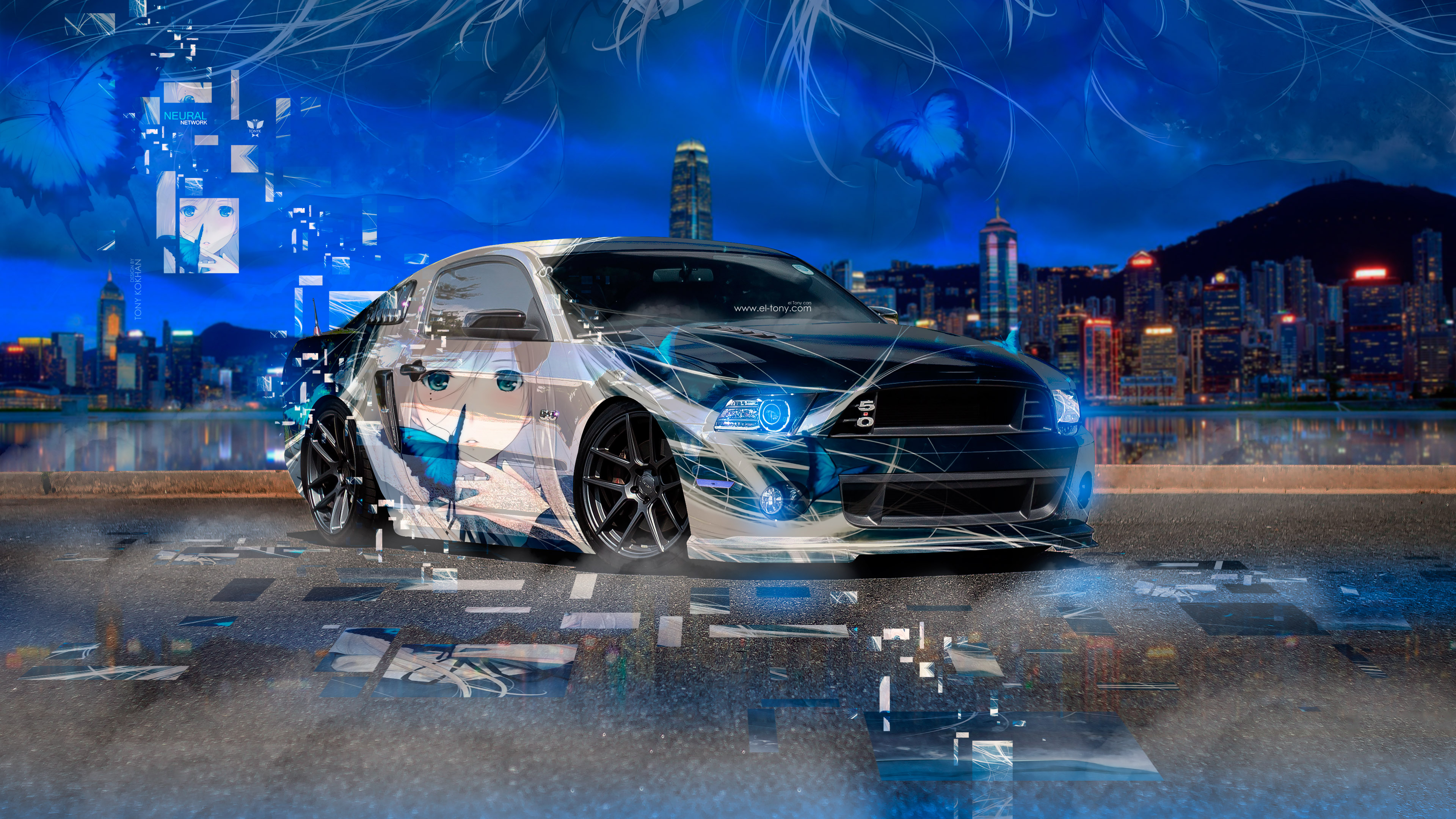Ford-Mustang-Shelby-Muscle-Anime-Girl-Butterfly-Aerography-Neural-Network-Square-Effects-Art-Car-2018-Multicolors-4K-Wallpapers-design-by-Tony-Kokhan-www.el-tony.com-image
