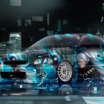 Honda Civic Coupe JDM Super Anime Boy Aerography Neural Network Square Night City Art Car 2018