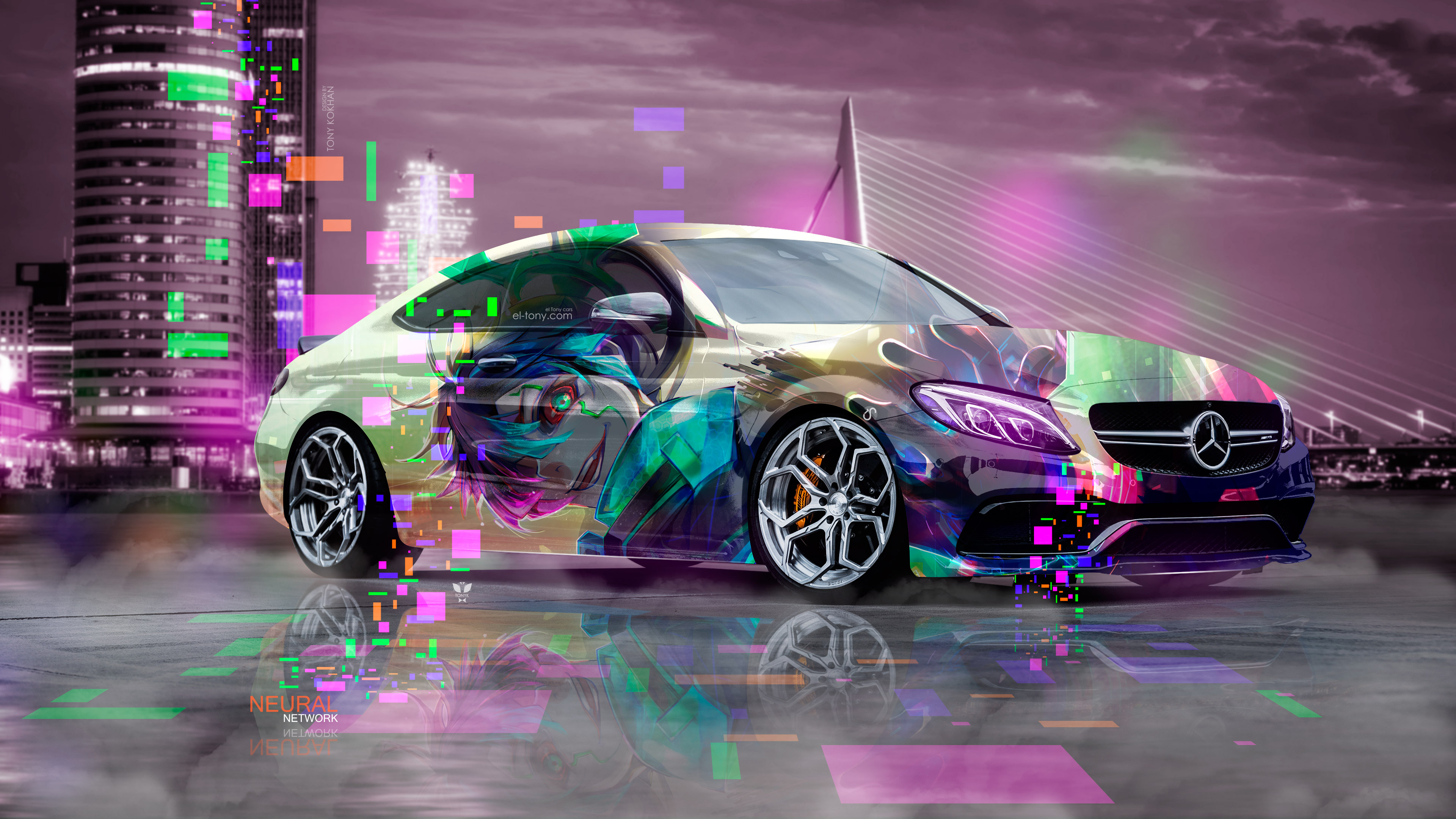 Mercedes-Benz-C63S-AMG-Сoupe-Anime-Boy-Aerography-Neural-Network-Rotterdam-Netherlands-Fog-Night-Art-Car-2018-Multicolors-4K-Wallpapers-design-by-Tony-Kokhan-www.el-tony.com-image