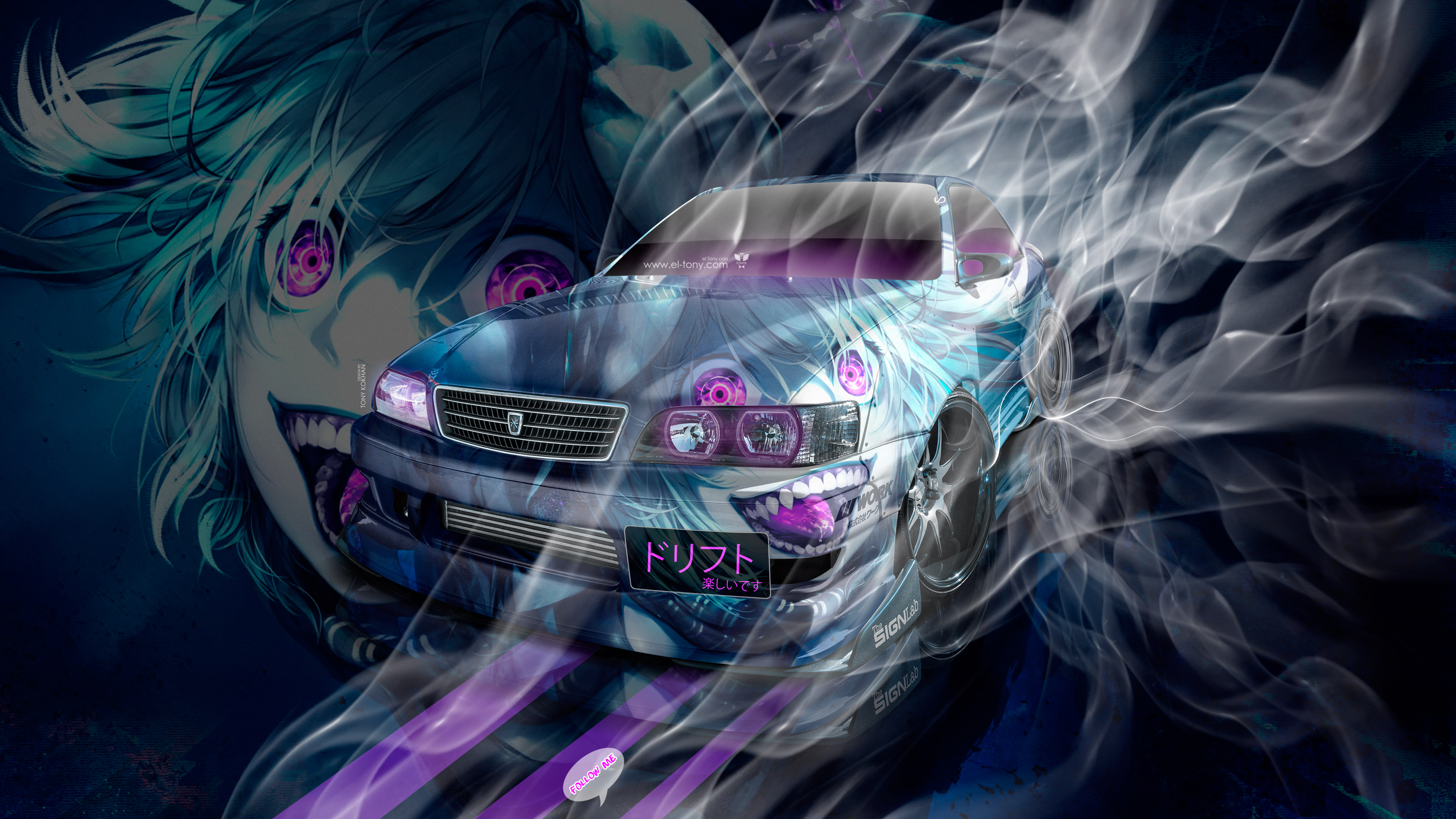 Toyota-Chaser-JZX100-JDM-Tuning-3D-Super-Anime-Boy-Aerography-Smoke-Drift-Art-Car-2018-Multicolors-4K-Wallpapers-design-by-Tony-Kokhan-www.el-tony.com-image