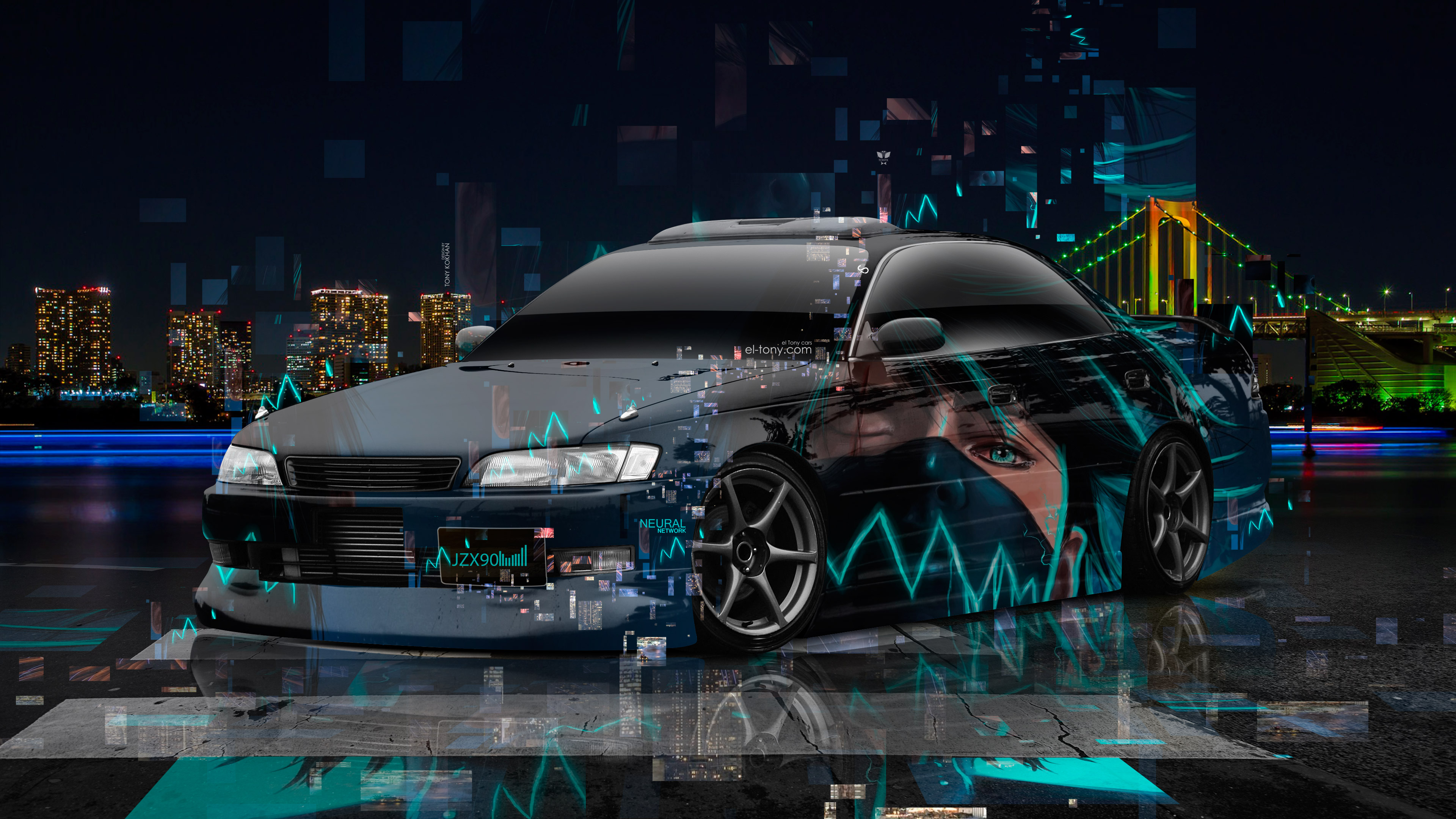 Toyota-Mark2-JZX90-JDM-Tuning-3D-Super-Neural-Network-Anime-Boy-Aerography-Night-City-Art-Car-2018-Multicolors-4K-Wallpapers-design-by-Tony-Kokhan-www.el-tony.com-image