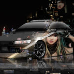 Toyota Mark2 JZX90 JDM Tuning 3D Super Neural Network Anime Girl Samurai Aerography Night City Art Car 2018