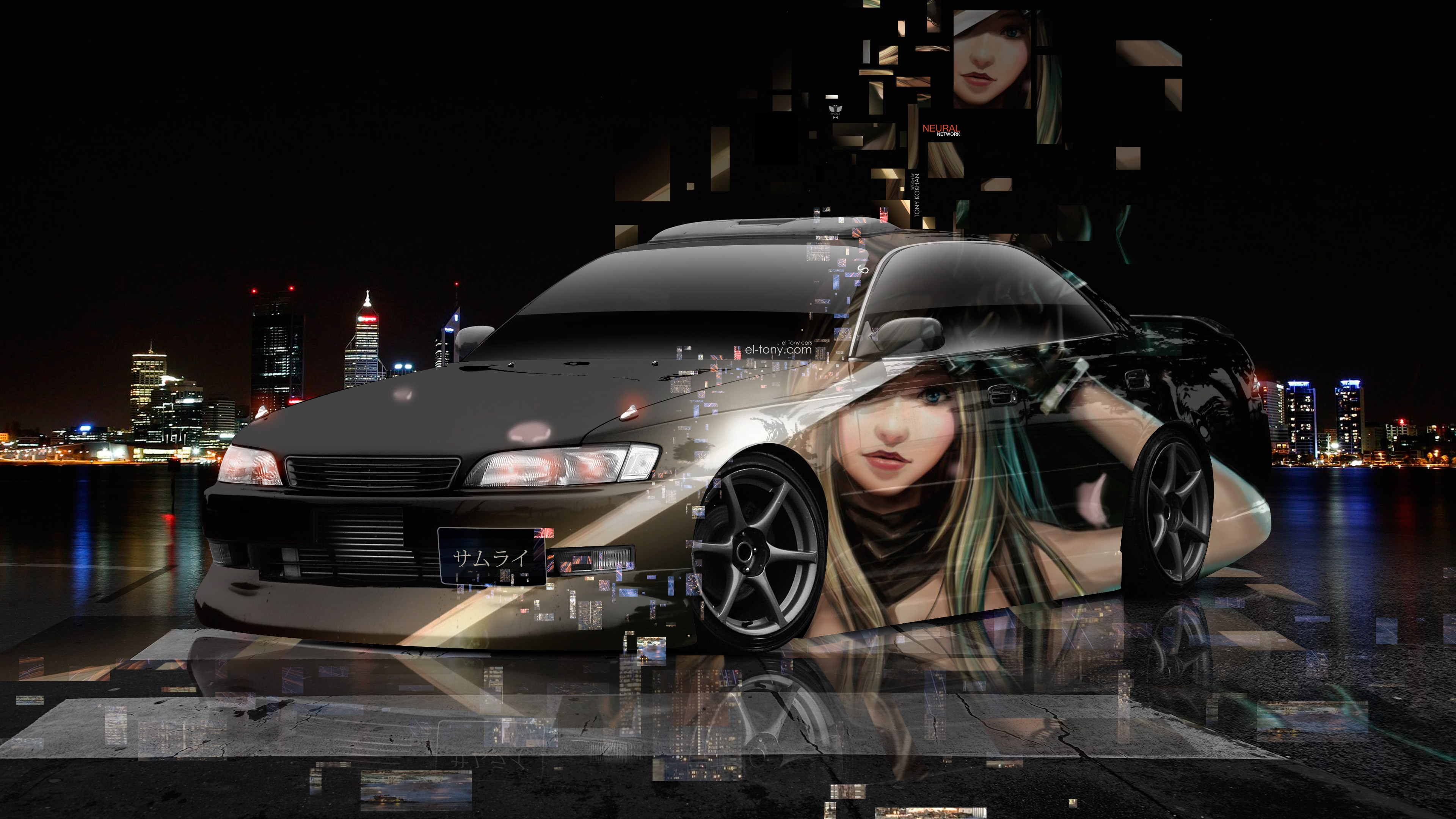 Toyota-Mark2-JZX90-JDM-Tuning-3D-Super-Neural-Network-Anime-Girl-Samurai-Aerography-Night-City-Art-Car-2018-Multicolors-4K-Wallpapers-design-by-Tony-Kokhan-www.el-tony.com-image