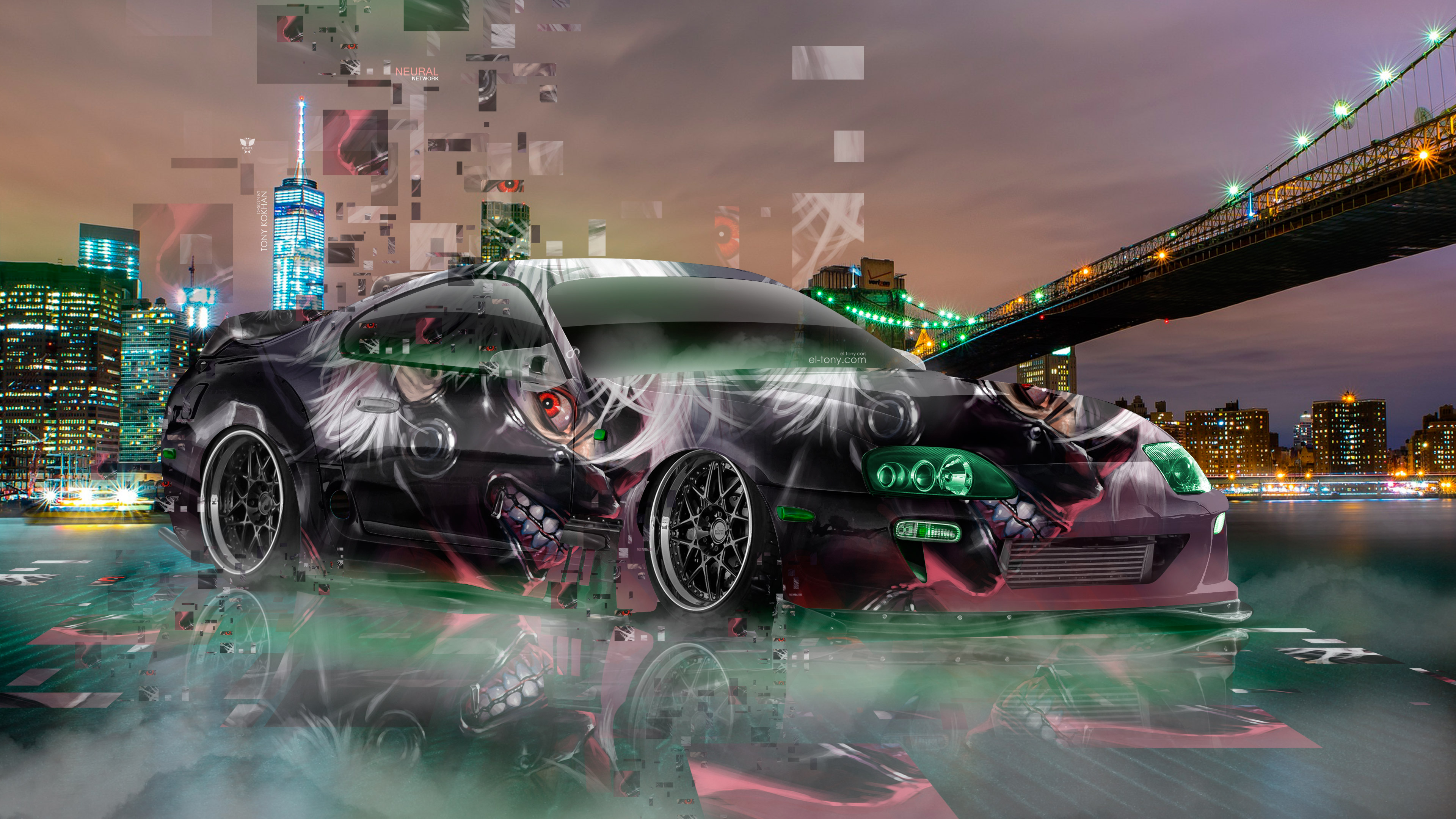 Toyota-Supra-JDM-Tuning-Anime-Ken-Kaneki-Tokyo-Ghoul-Aerography-Neural-Network-New-York-City-Night-Car-2018-Multicolors-4K-Wallpapers-design-by-Tony-Kokhan-www.el-tony.com-image