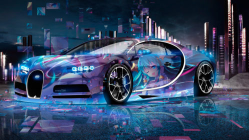 Bugatti-Chiron-3D-Super-Anime-Girl-Aerography-Neural-Network-Square-Effects-Night-Art-Car-2018-Multicolors-4K-Wallpapers-design-by-Tony-Kokhan-www.el-tony.com-image